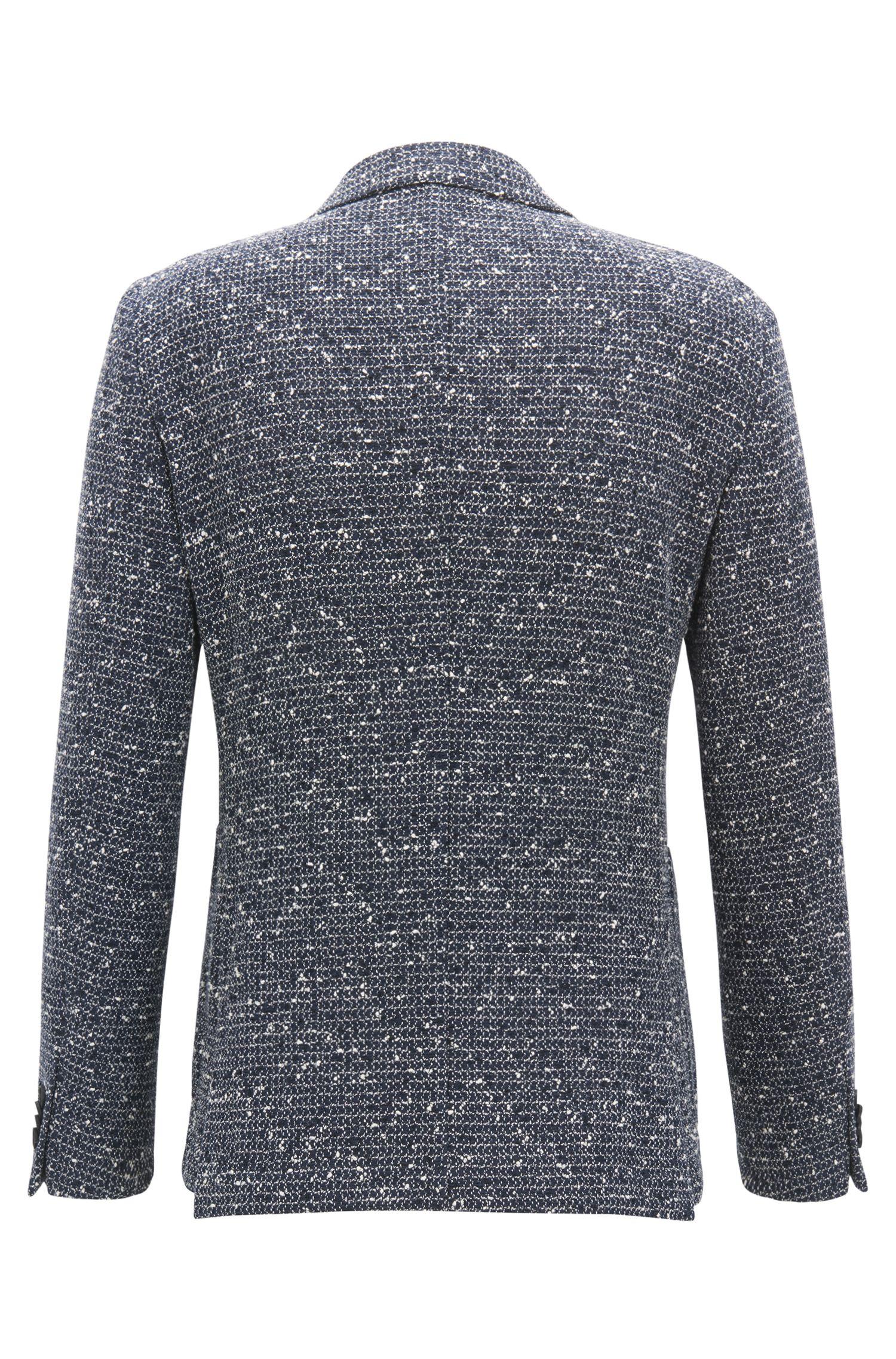 Slim-fit blazer in a structured cotton blend, Open Blue