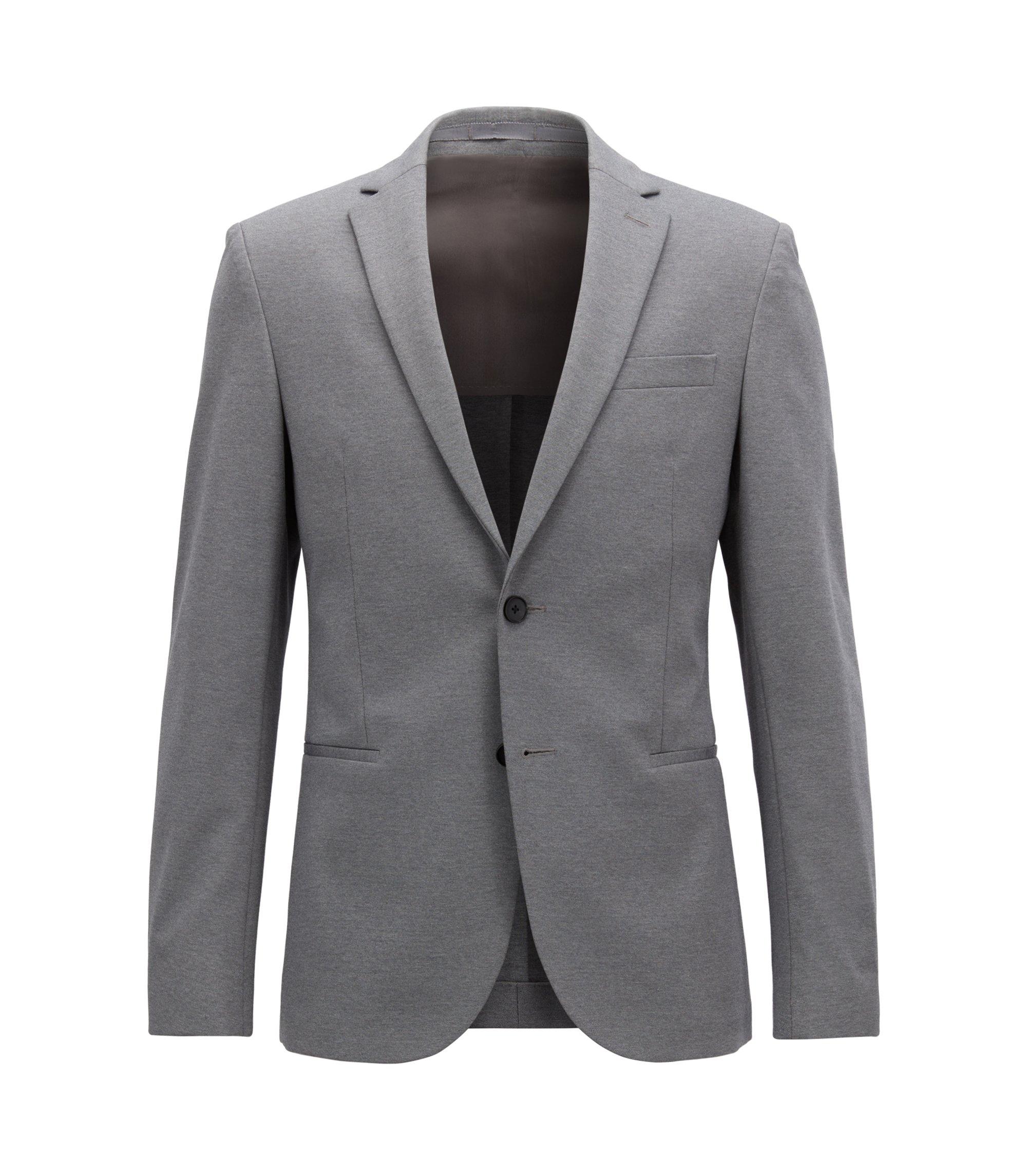 Slim-fit blazer in a stretch cotton blend, Grey