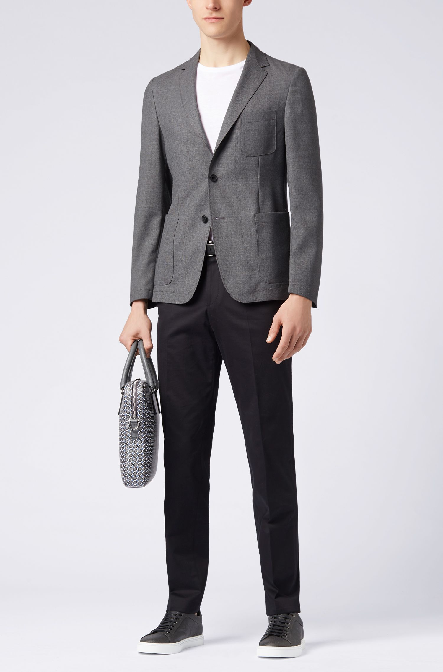 Slim-fit blazer in melange virgin wool, Open Grey