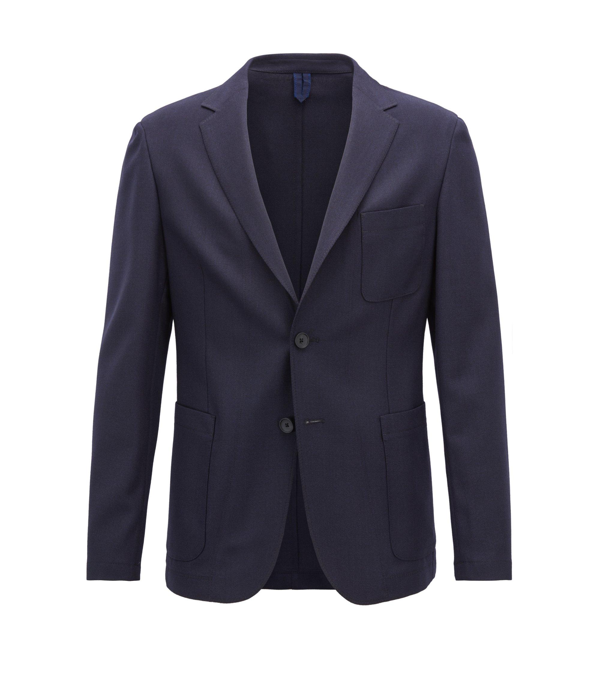Slim-fit blazer in melange virgin wool, Open Blue