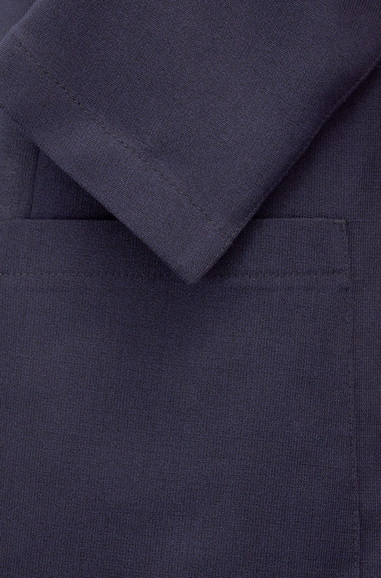 Slim-fit blazer in melange virgin wool, Open Blue