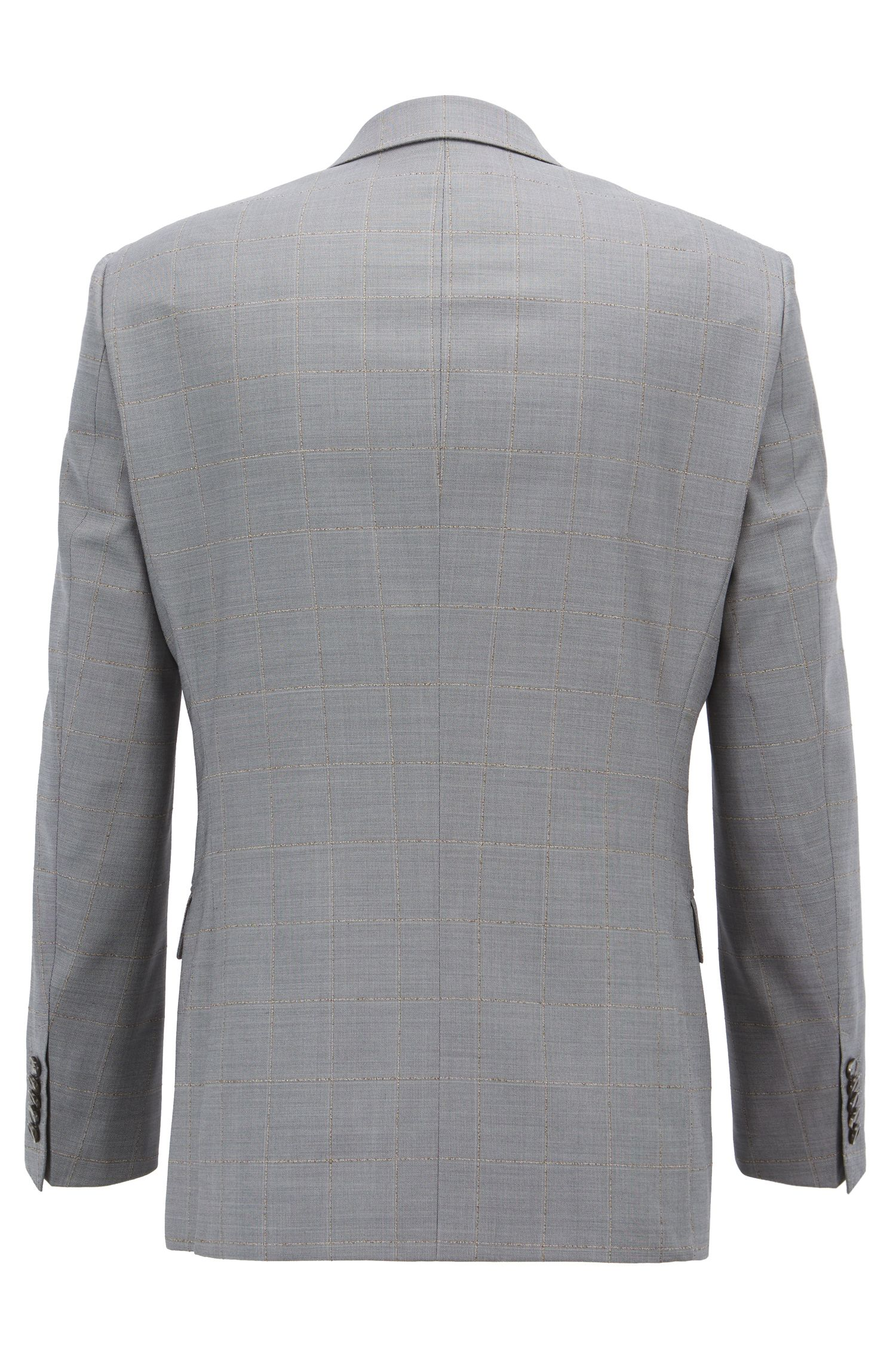 Tailored slim-fit suit with check pattern, Grey