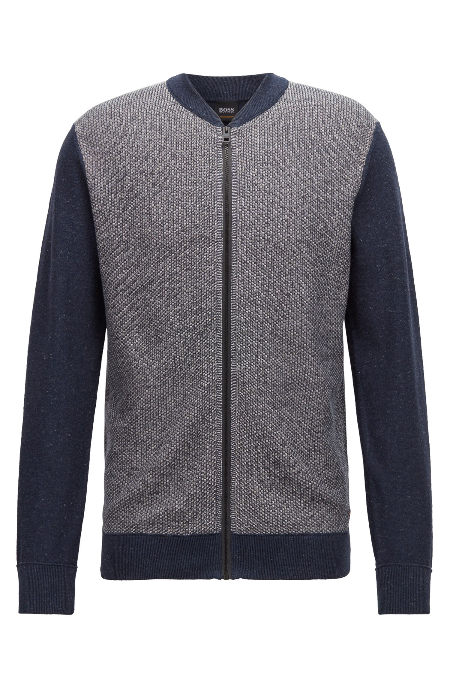 Knitted bomber jacket with a micro-structure front panel, Open Blue