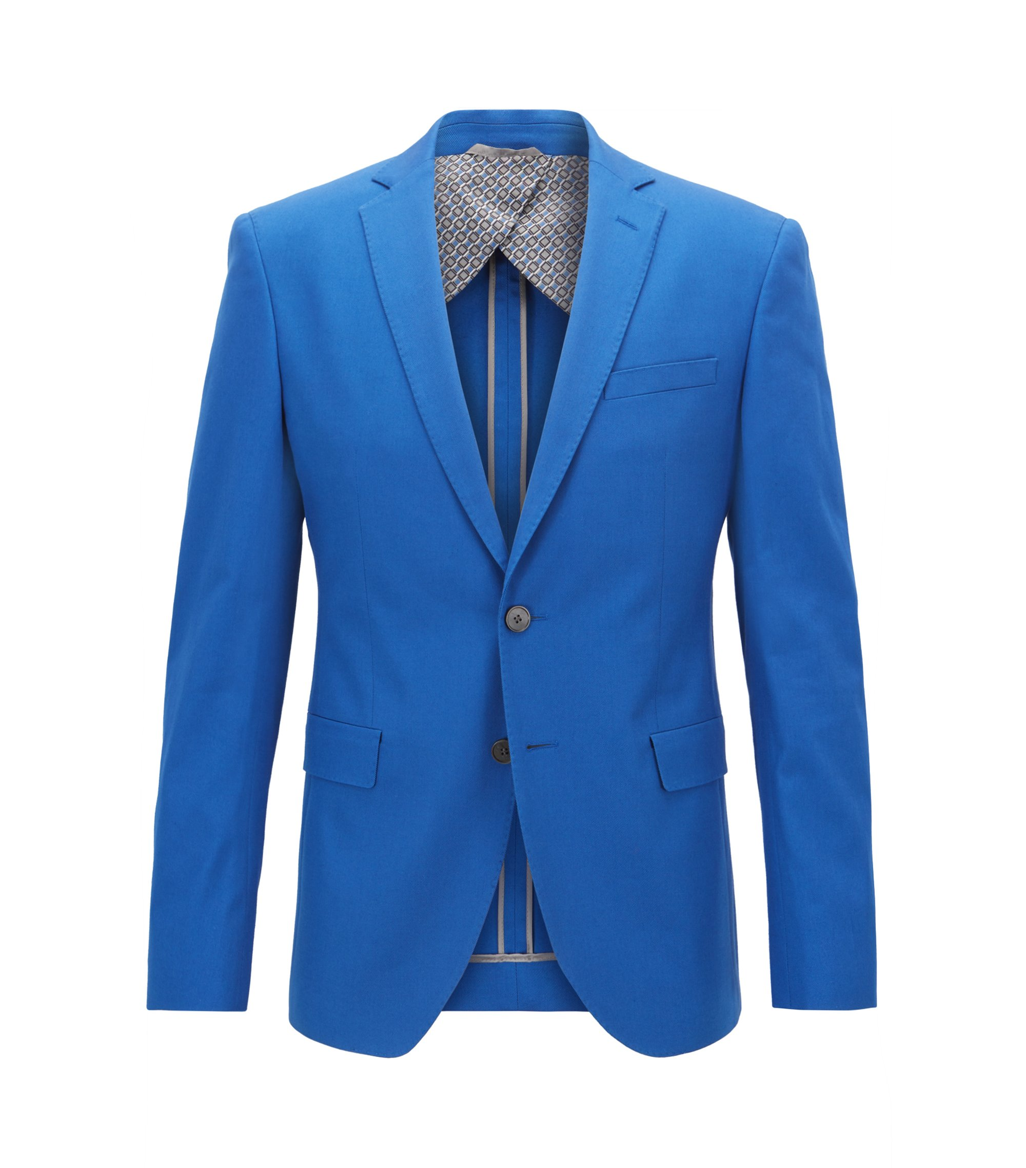 Extra-slim-fit jacket in Italian stretch-cotton, Open Blue