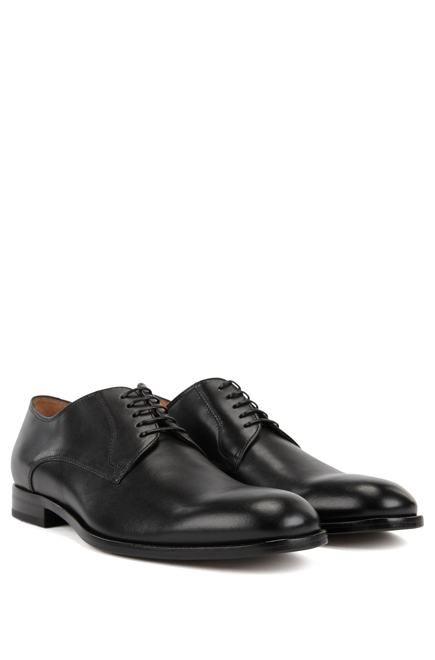 Italian-made Derby shoes in smooth calf leather, Black