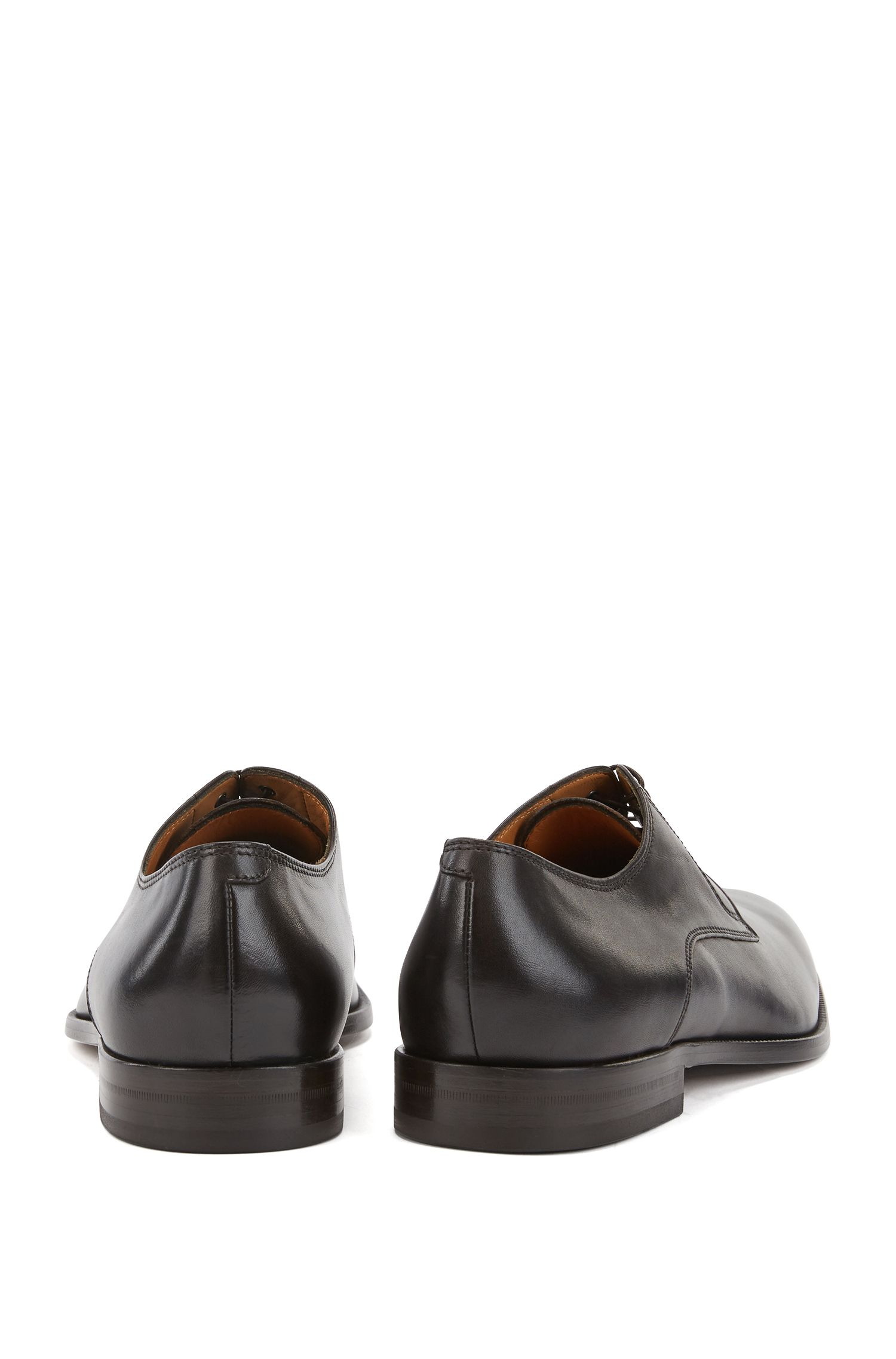 Italian-made Derby shoes in smooth calf leather, Dark Brown