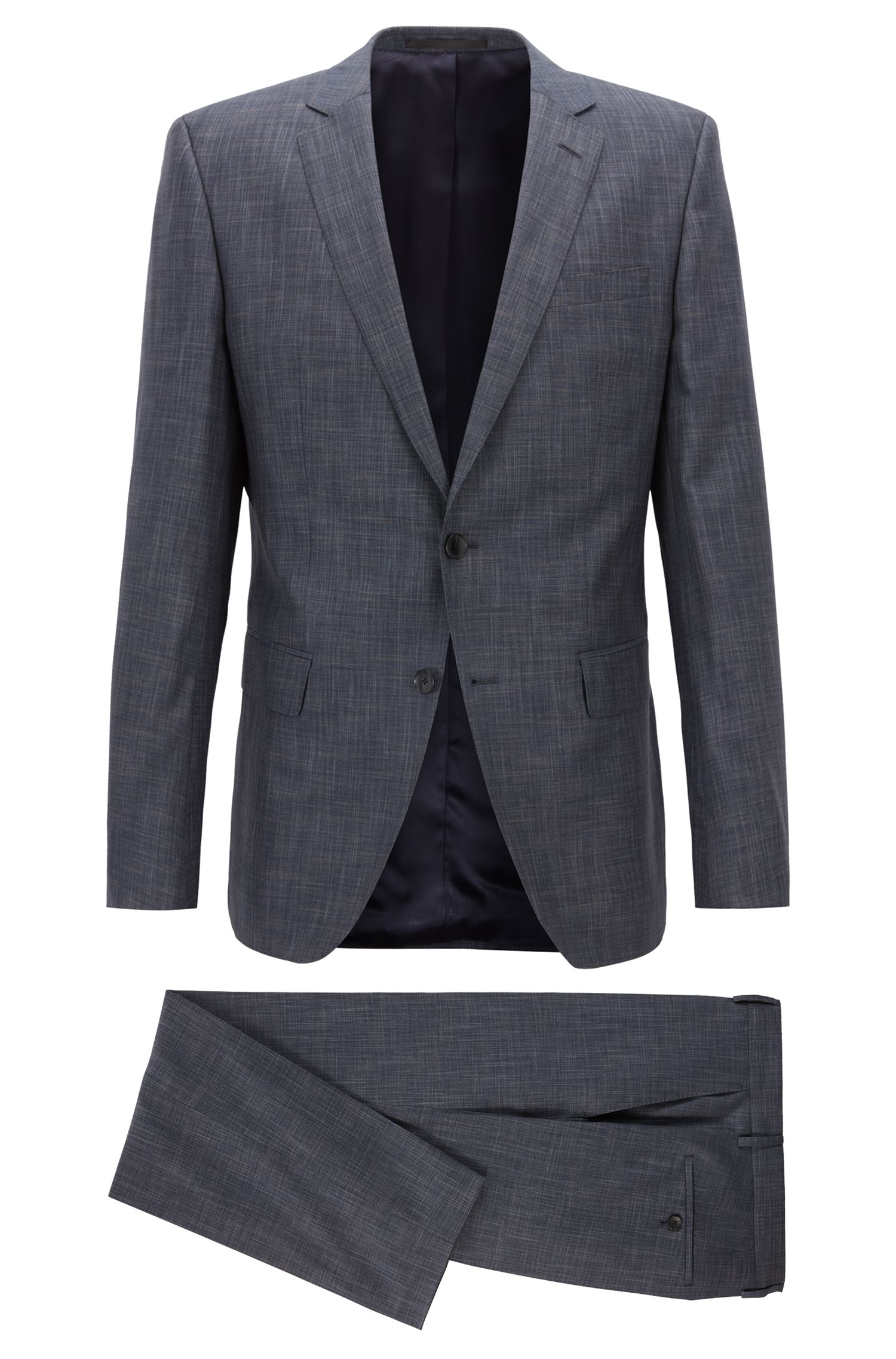 Slim-fit suit in virgin wool with silk, Open Blue