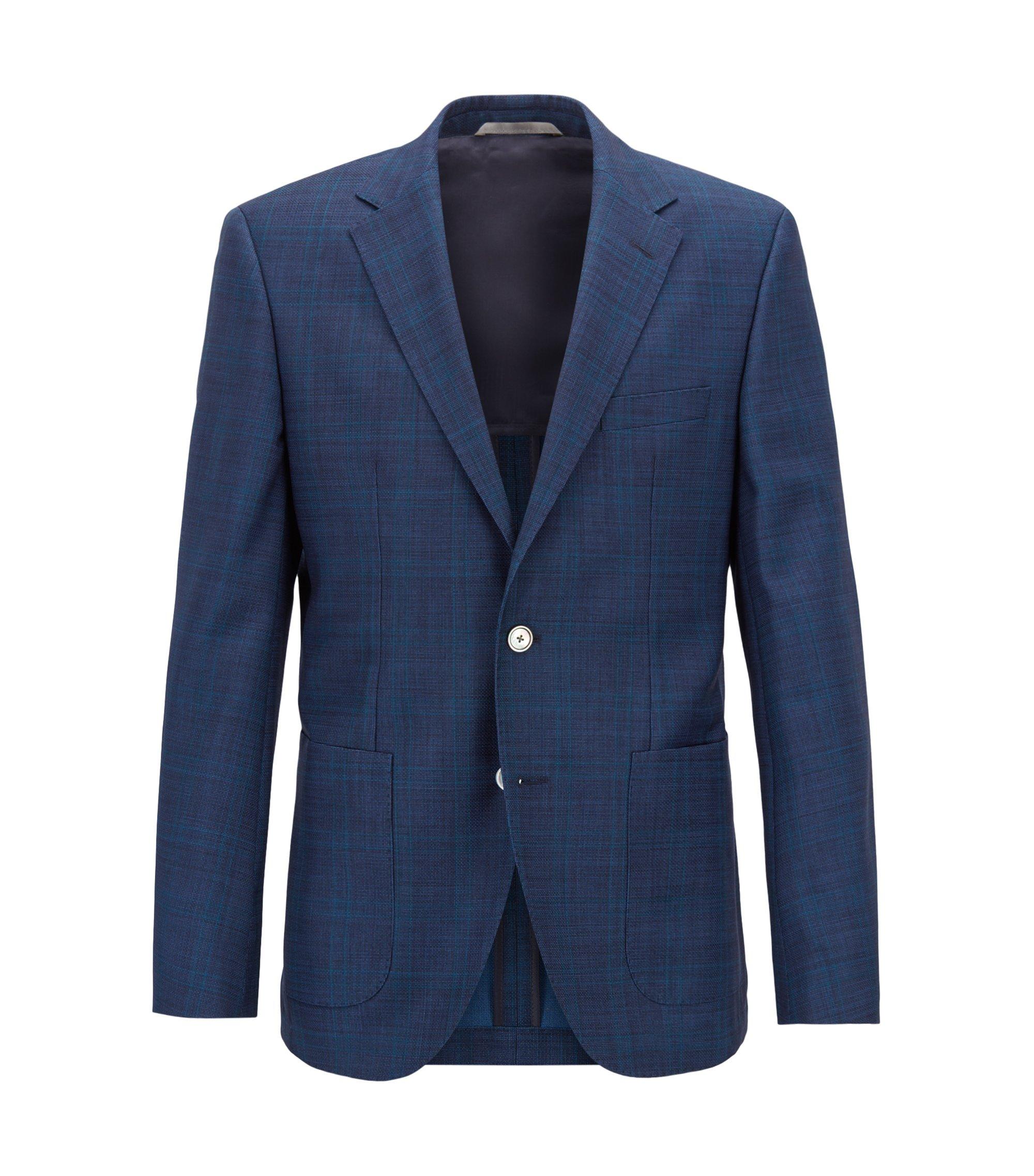 Regular-fit checked jacket in Italian virgin wool serge , Open Blue