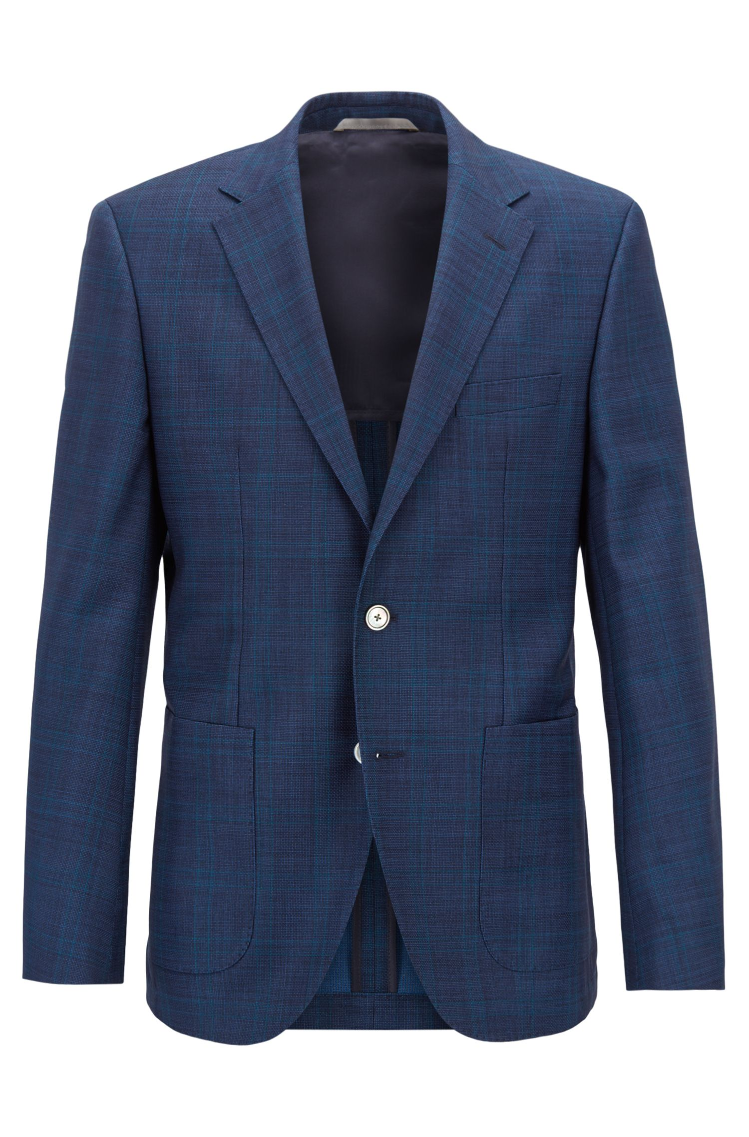 Regular-fit checked jacket in Italian virgin wool serge , Open Blue