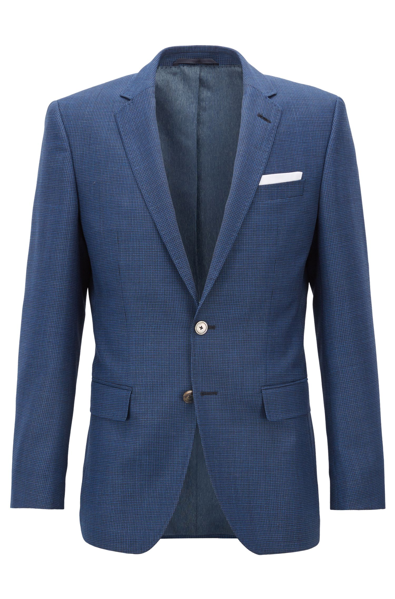Slim-fit jacket in houndstooth virgin wool, Open Blue