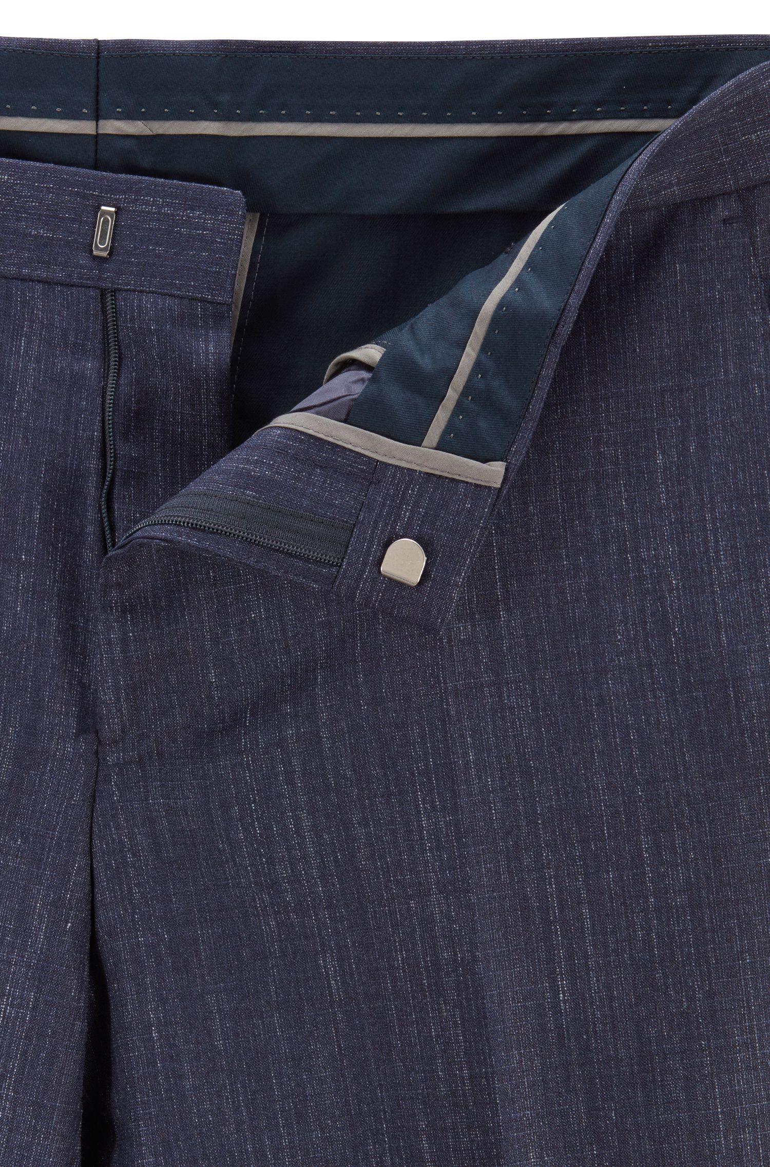 Slim-fit suit in a melange virgin-wool blend, Open Blue