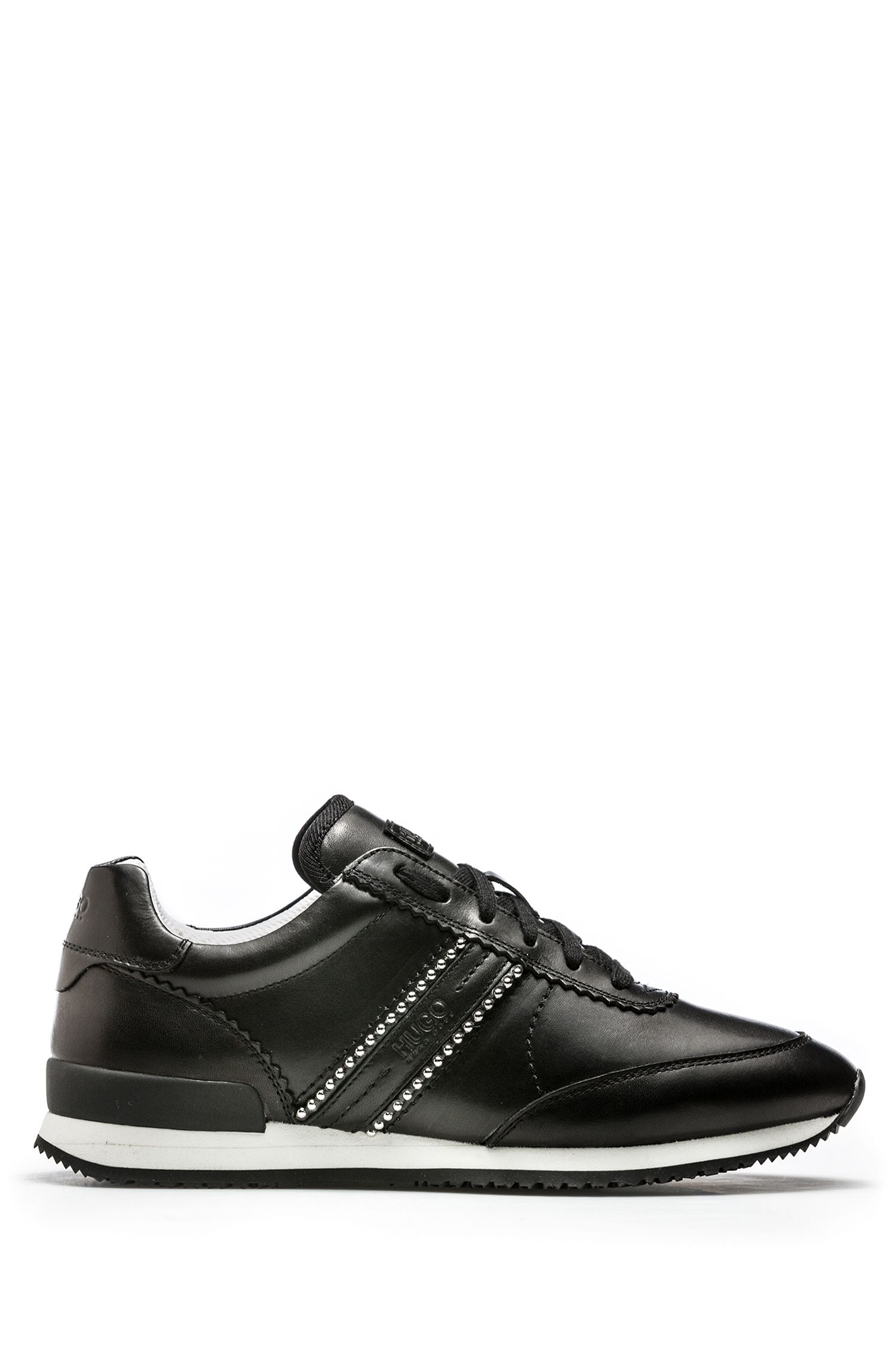 Low-top leather sneakers with metal stud detailing, Black