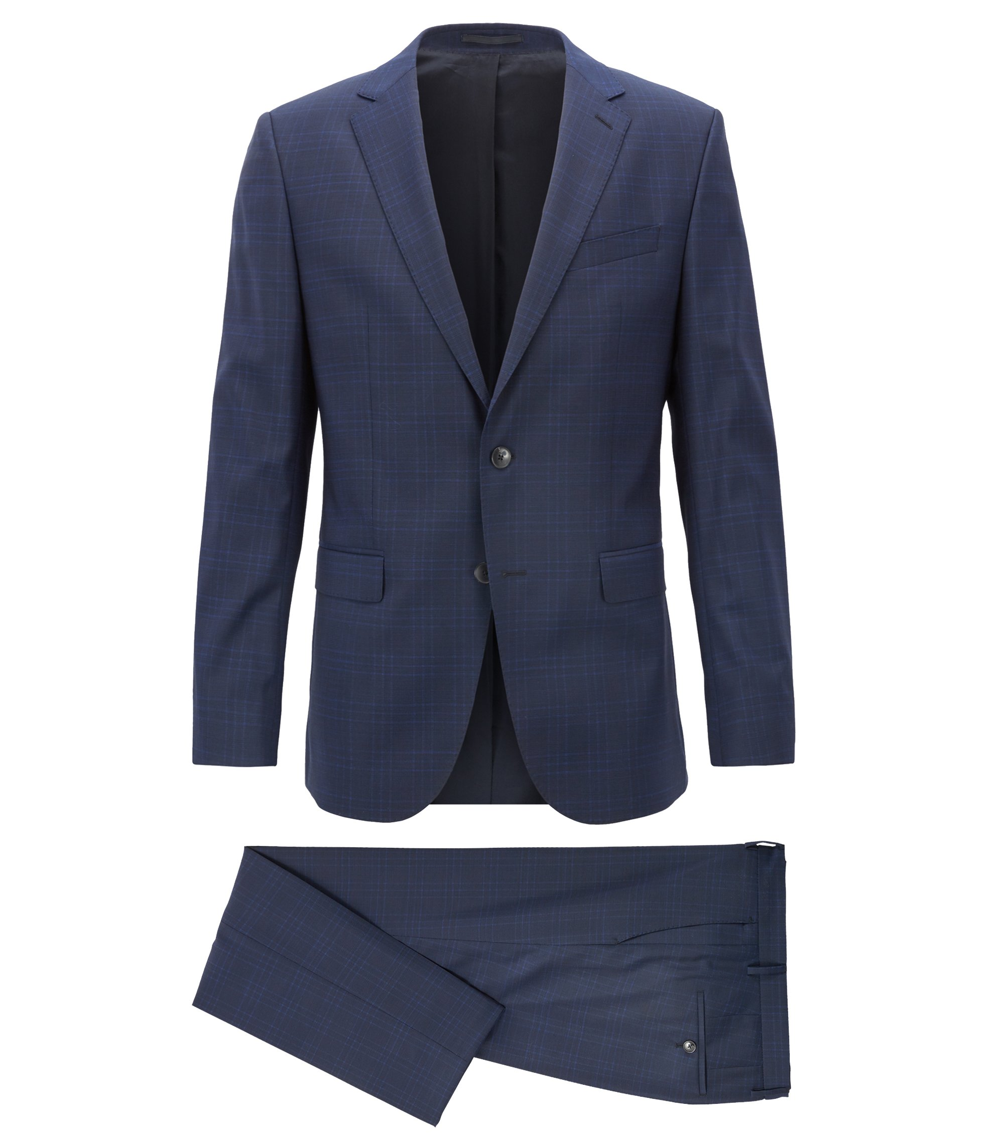 Slim-fit suit in plain-check virgin wool, Open Blue