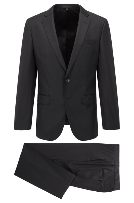 Slim-fit suit in virgin wool with natural stretch, Black