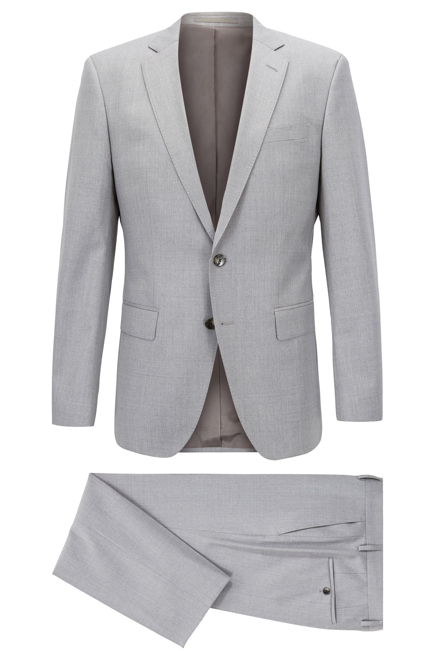 Slim-fit suit in virgin wool with natural stretch, Grey