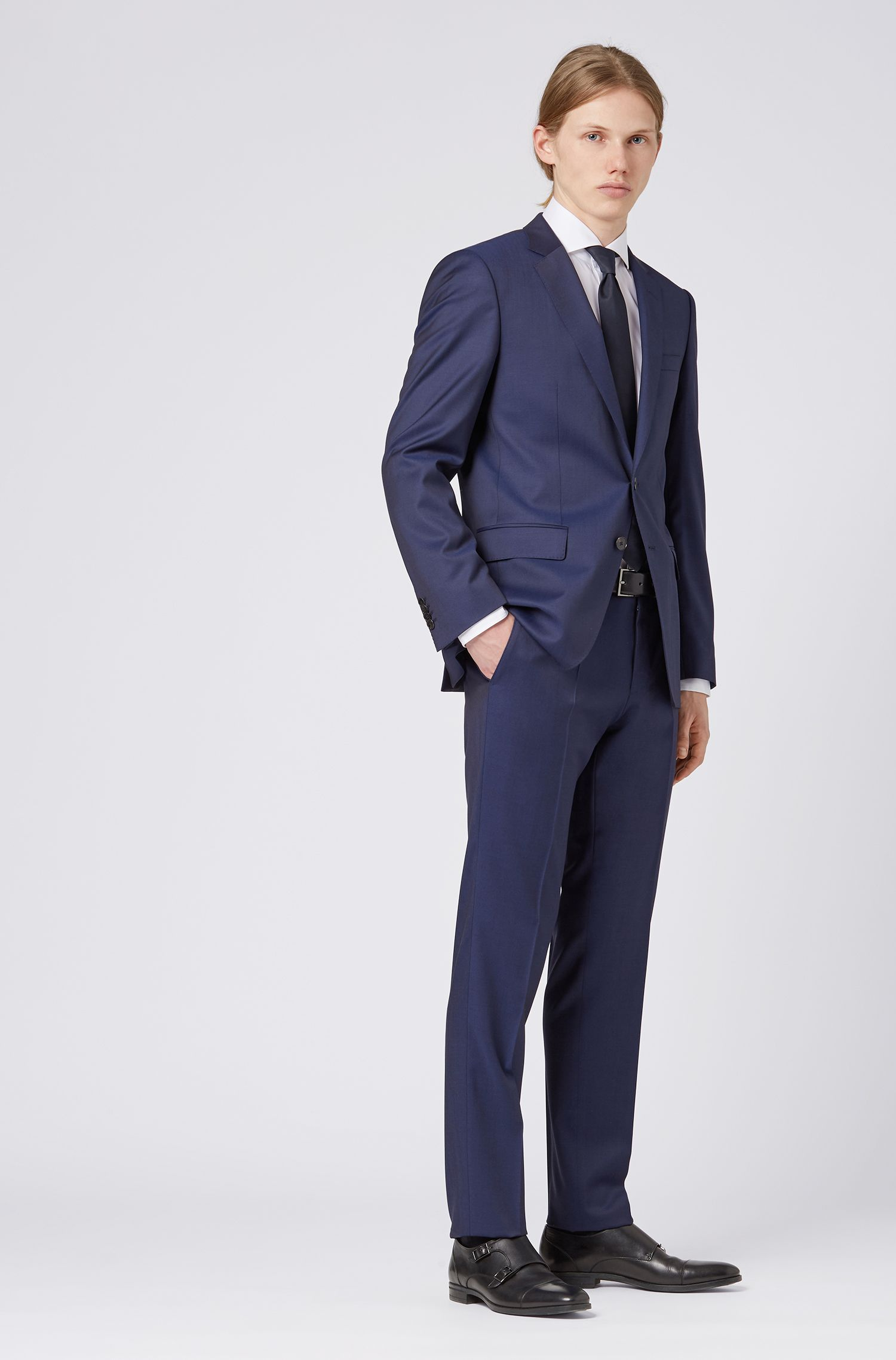 Slim-fit suit in virgin wool with natural stretch, Dark Blue