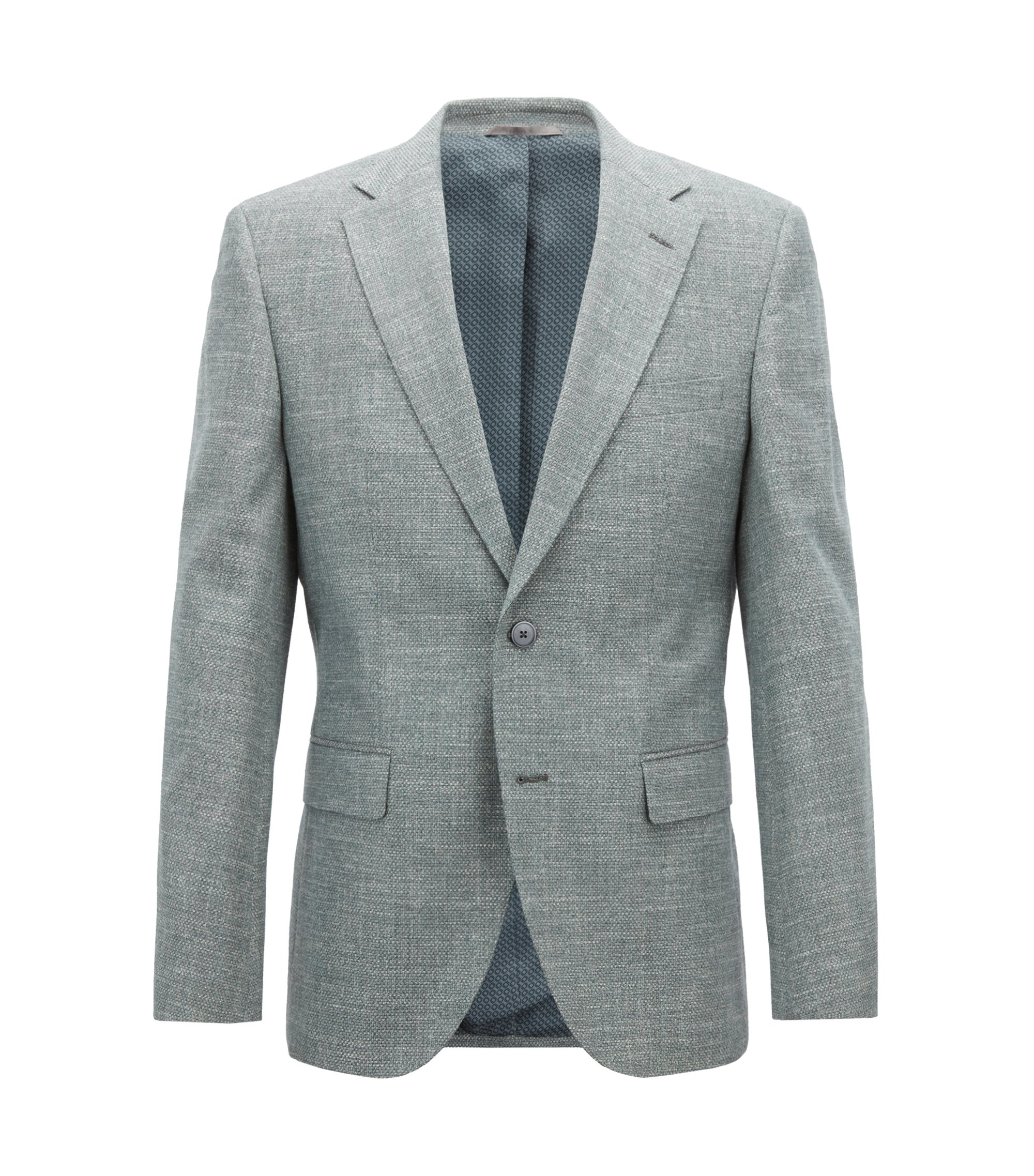 Regular-fit blazer in micro-patterned Italian cotton, Dark Green