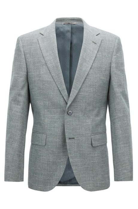 7f02664c7 BOSS - Regular-fit blazer in micro-patterned Italian cotton