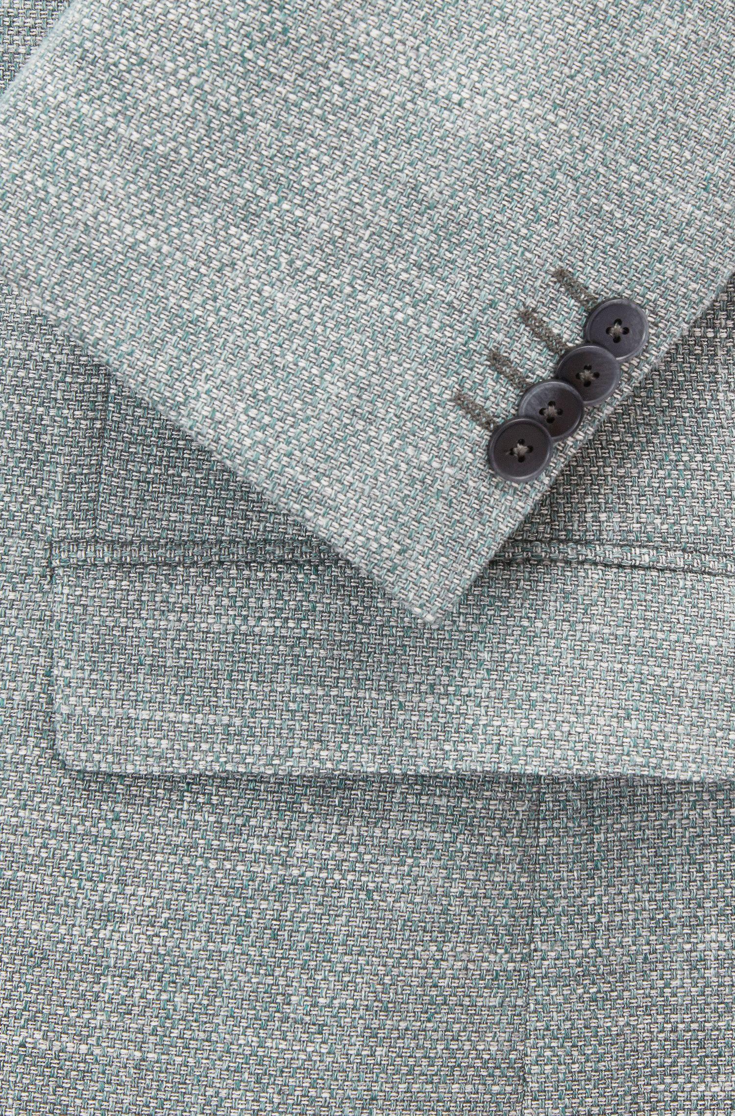 Regular-fit blazer in micro-patterned Italian cotton, Dark Green