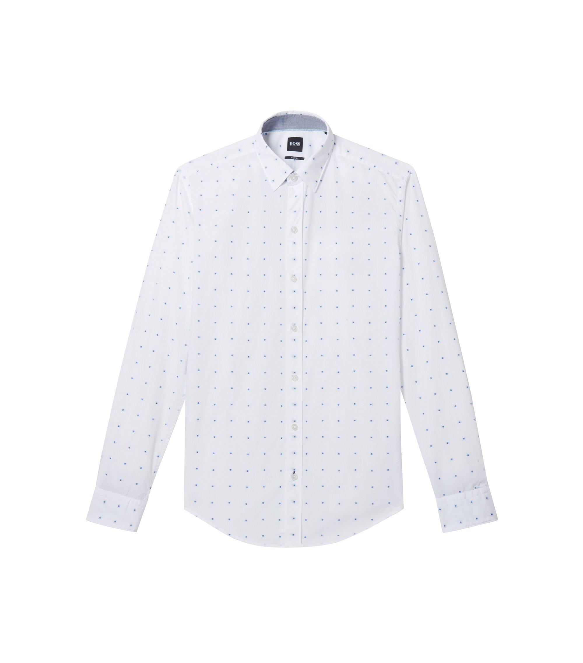 Fil coupé slim-fit shirt in fil-à-fil cotton, White