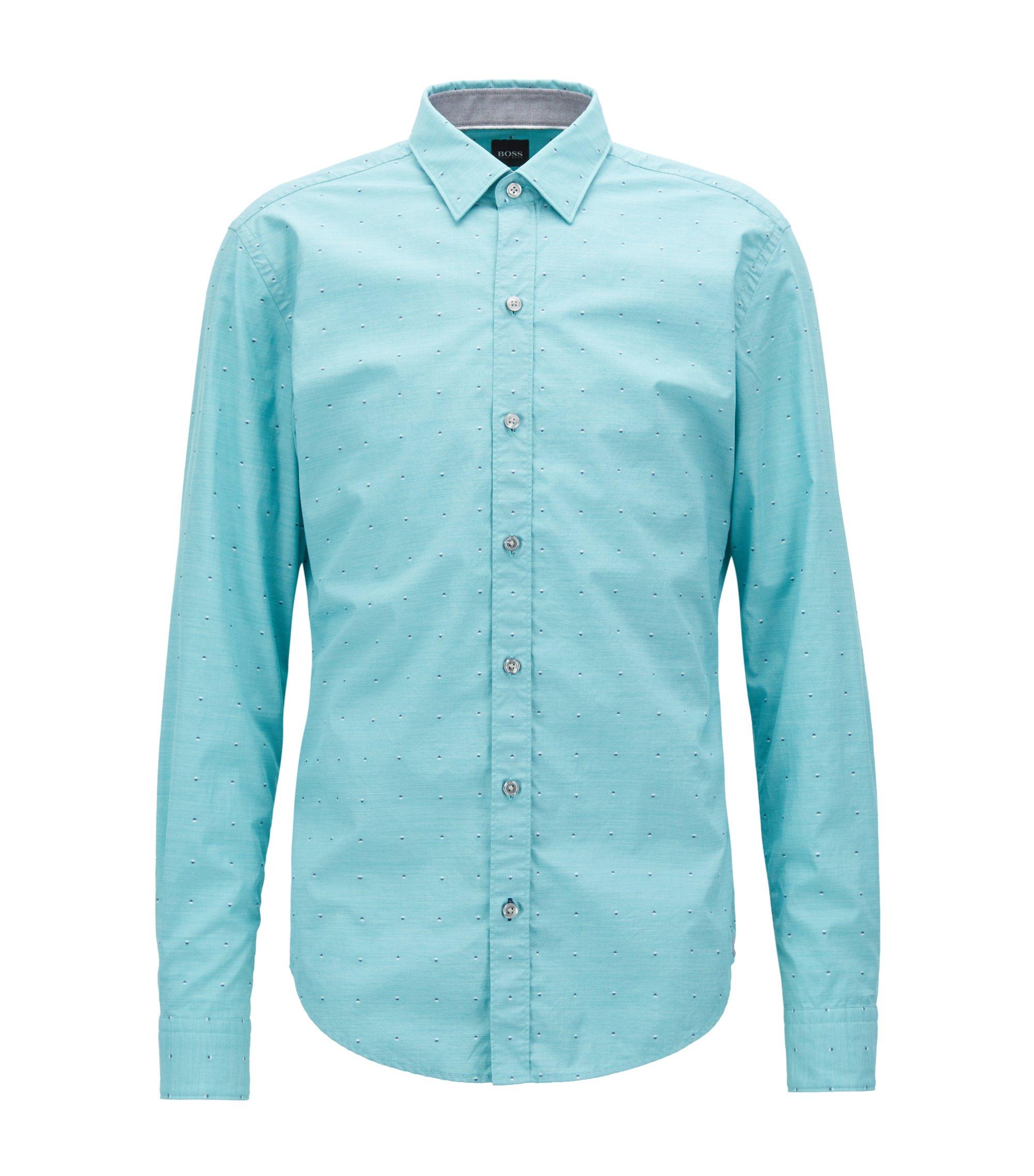 Fil coupé slim-fit shirt in fil-à-fil cotton, Green