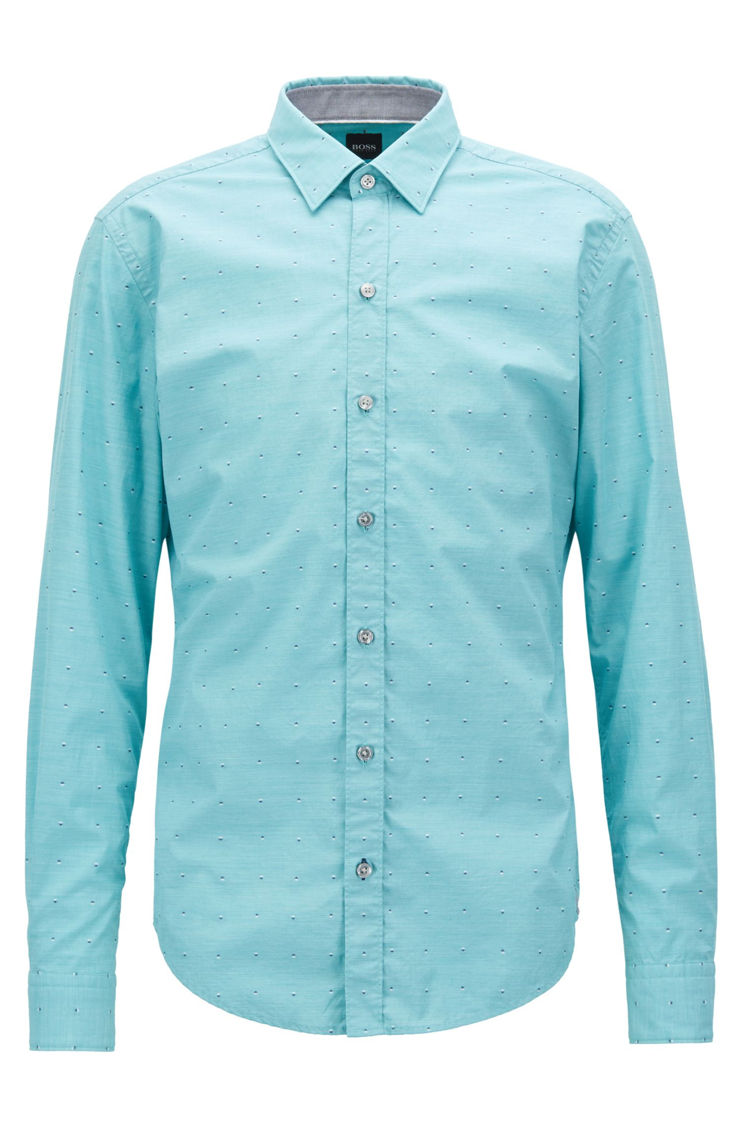 Fil coupé slim-fit shirt in fil-à-fil cotton, Green