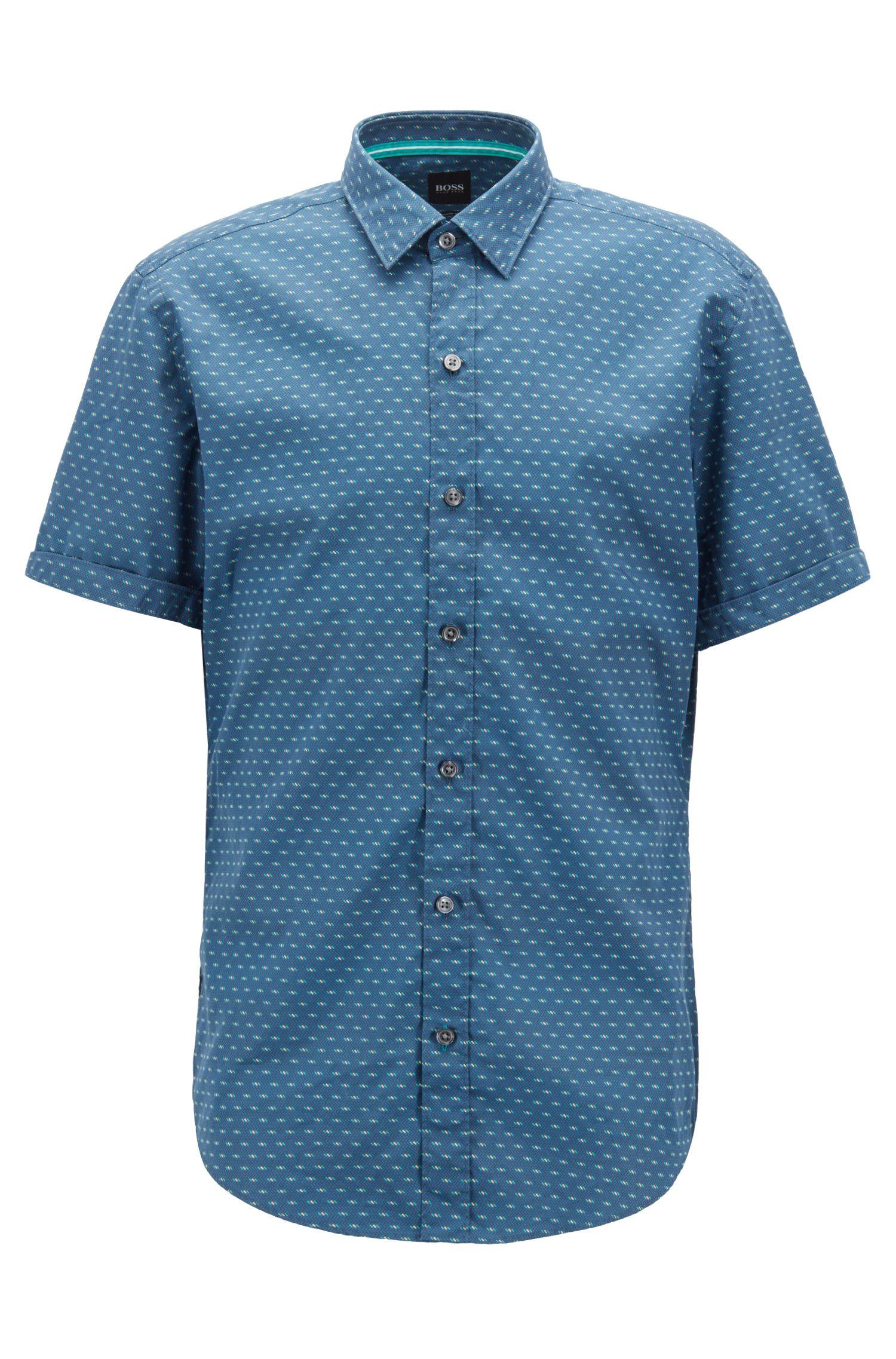 Slim-fit shirt in printed cotton poplin, Open Blue