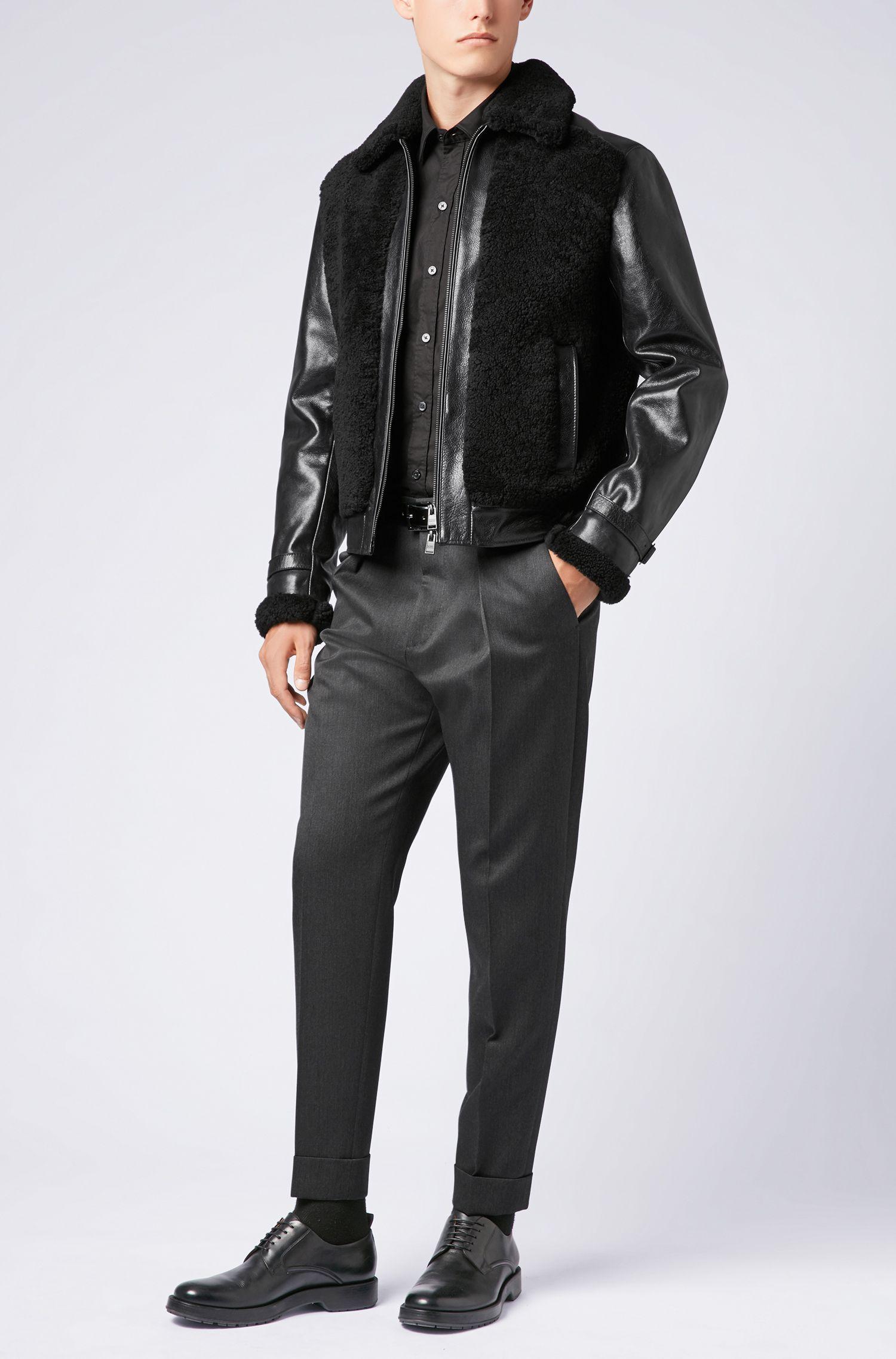 Slim-fit shirt in stretch-cotton poplin, Black