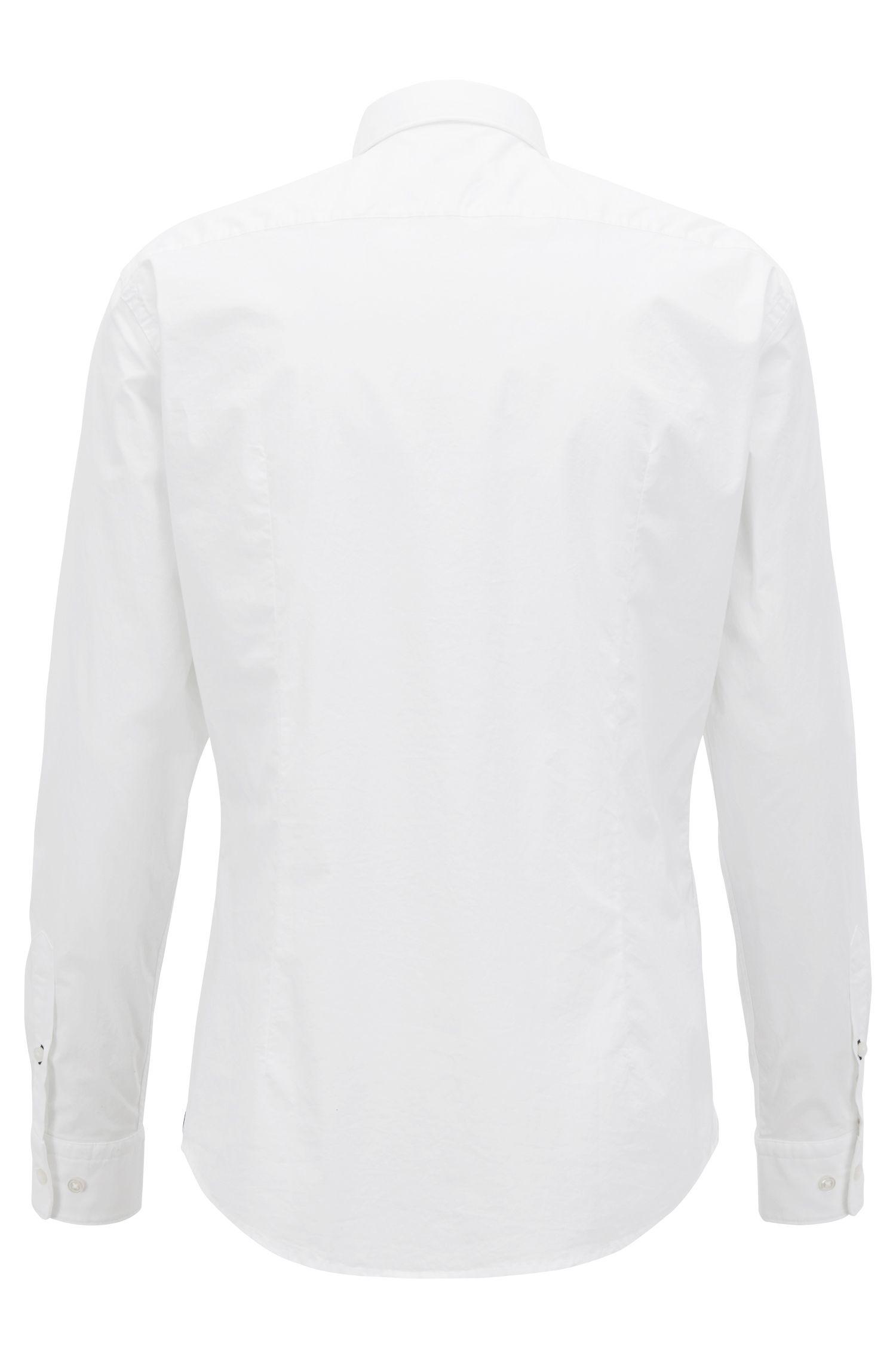 Slim-fit shirt in stretch-cotton poplin, White