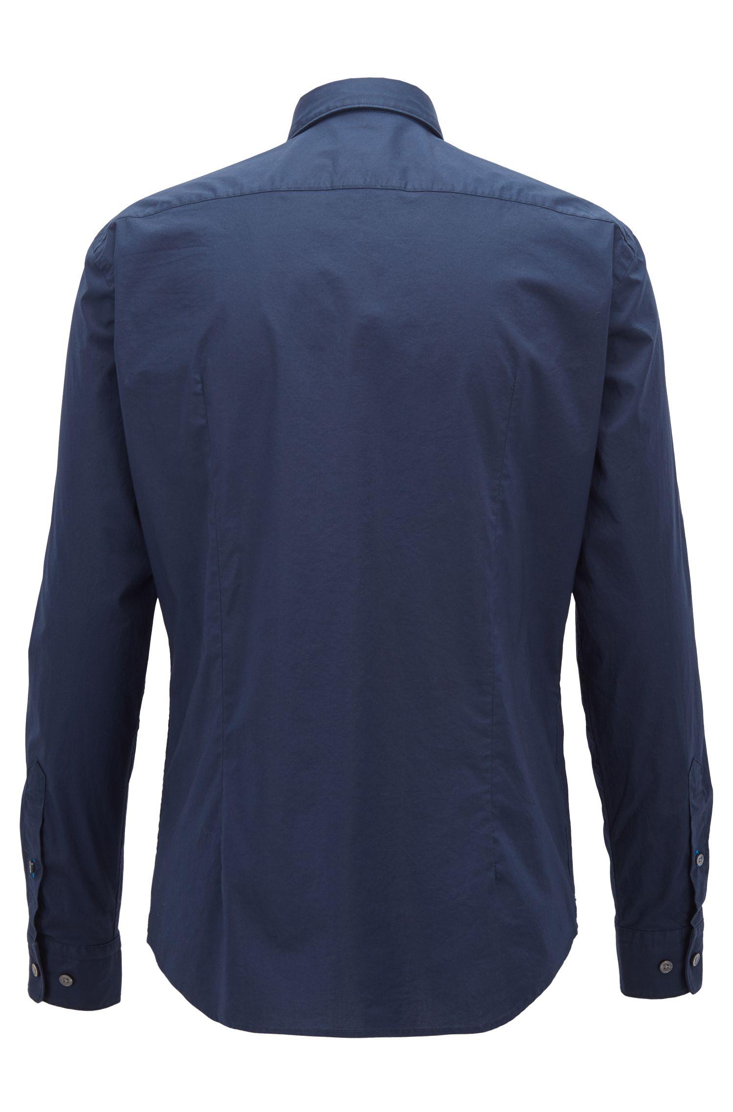 Slim-fit shirt in stretch-cotton poplin