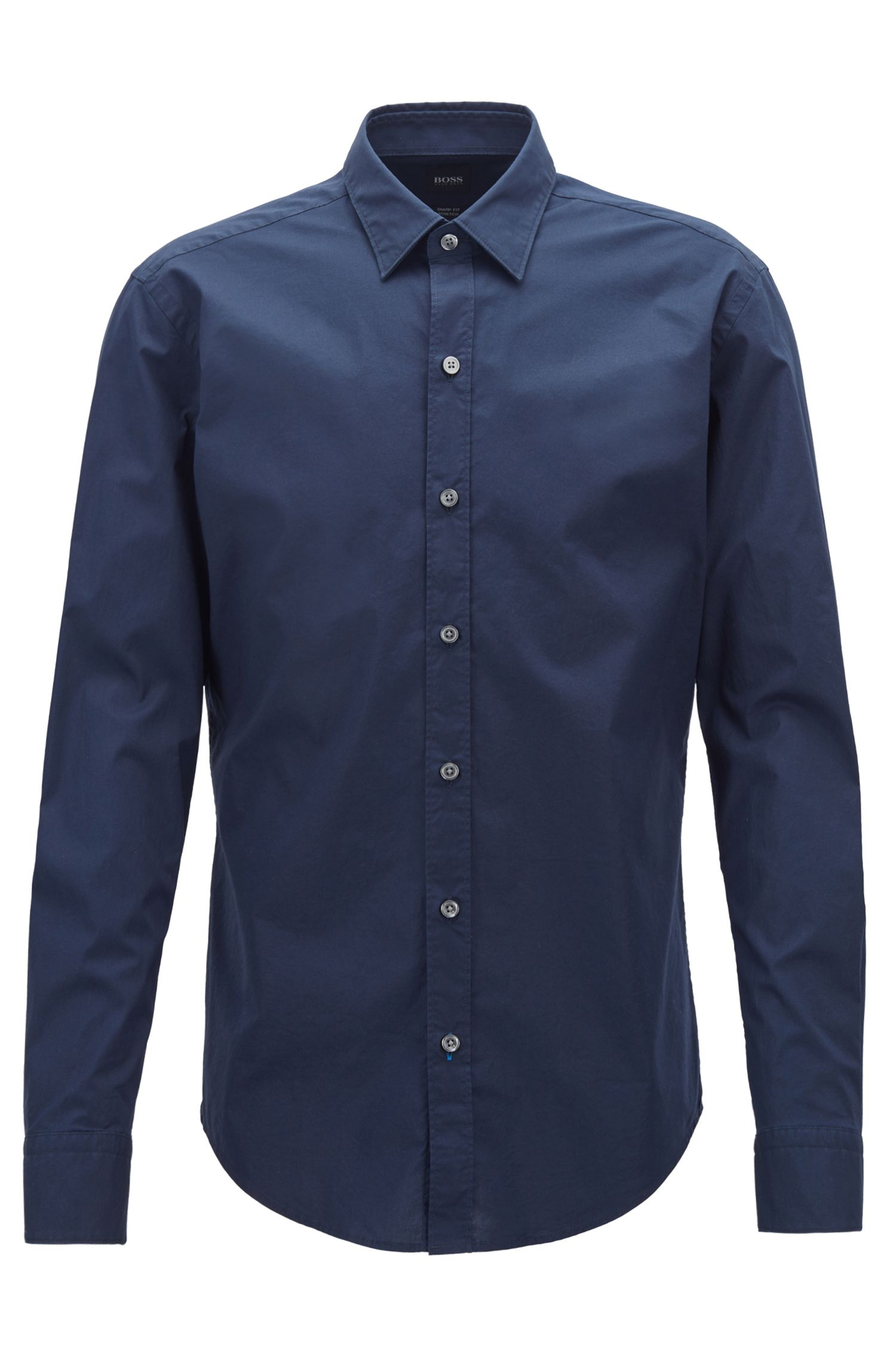 Slim-fit shirt in stretch-cotton poplin, Open Blue