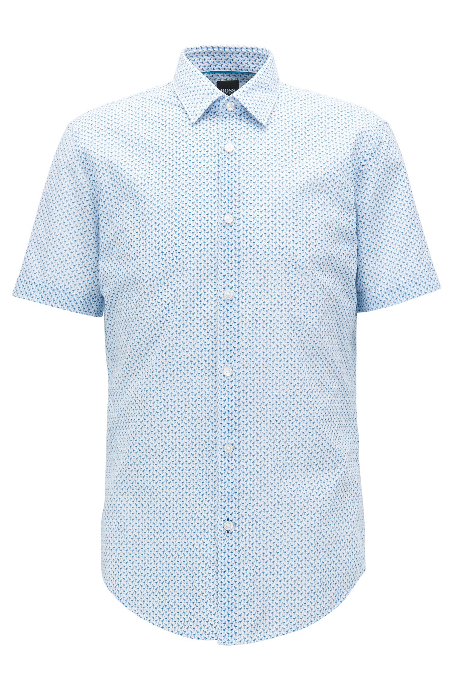 Slim-fit shirt in flamingo-print Italian cotton, Open Blue