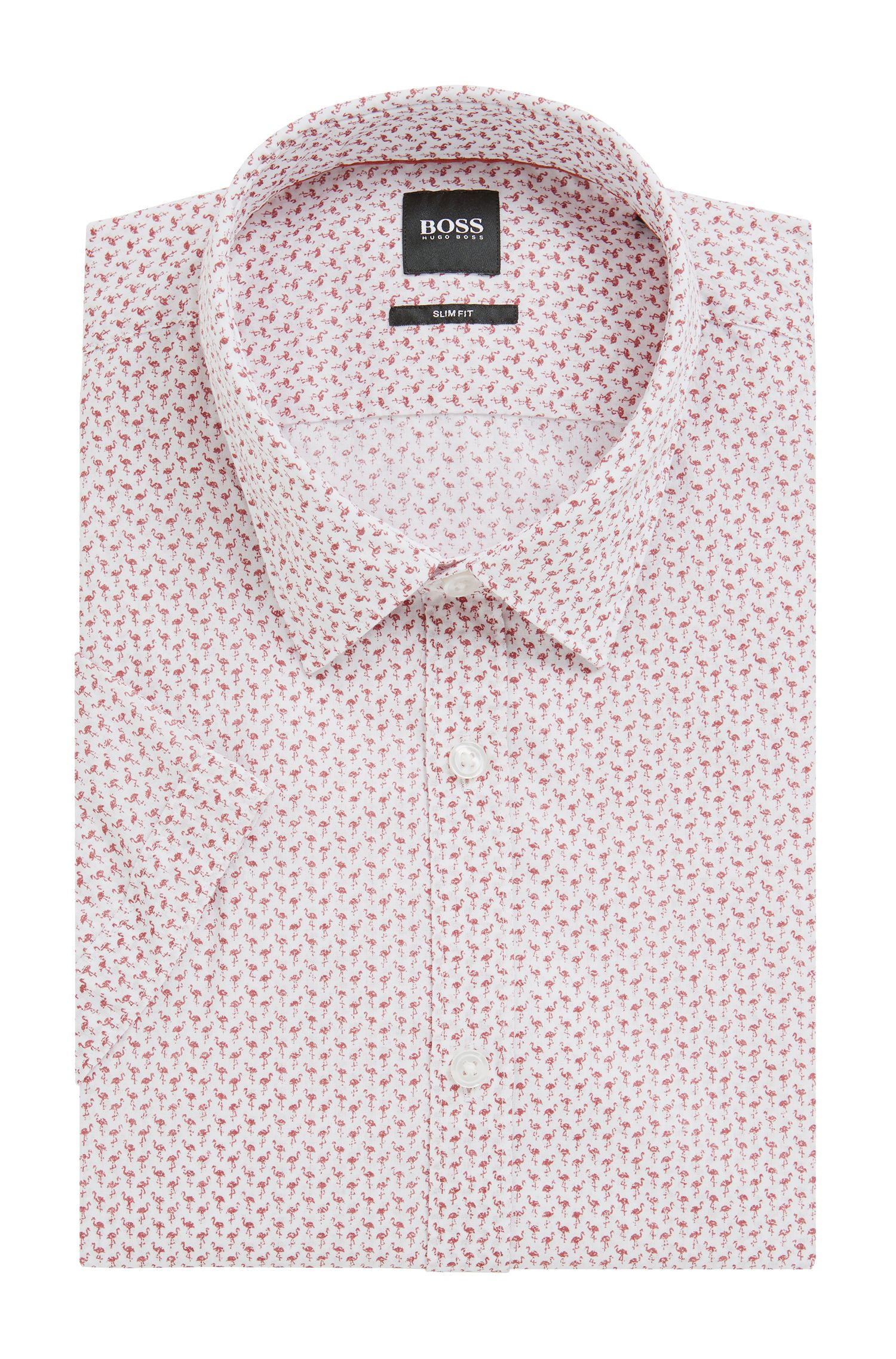 Slim-fit shirt in flamingo-print Italian cotton, Open Red
