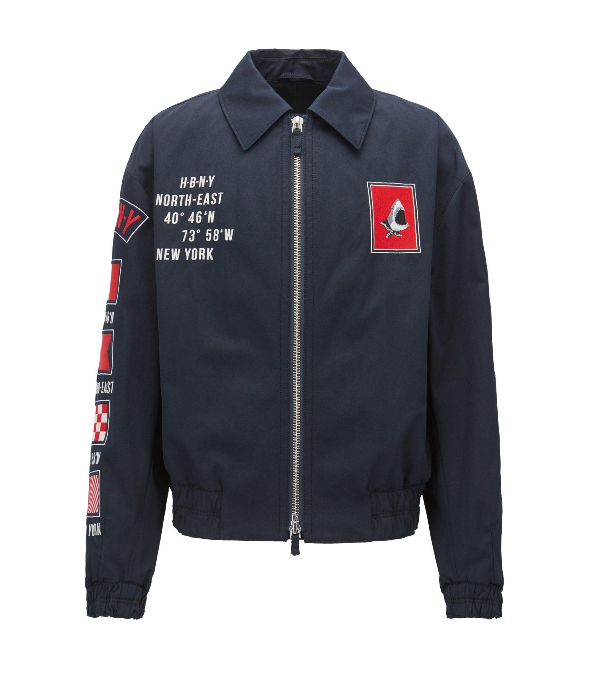 Embroidered Motifs Cotton Jacket   Glenflag , Dark Blue