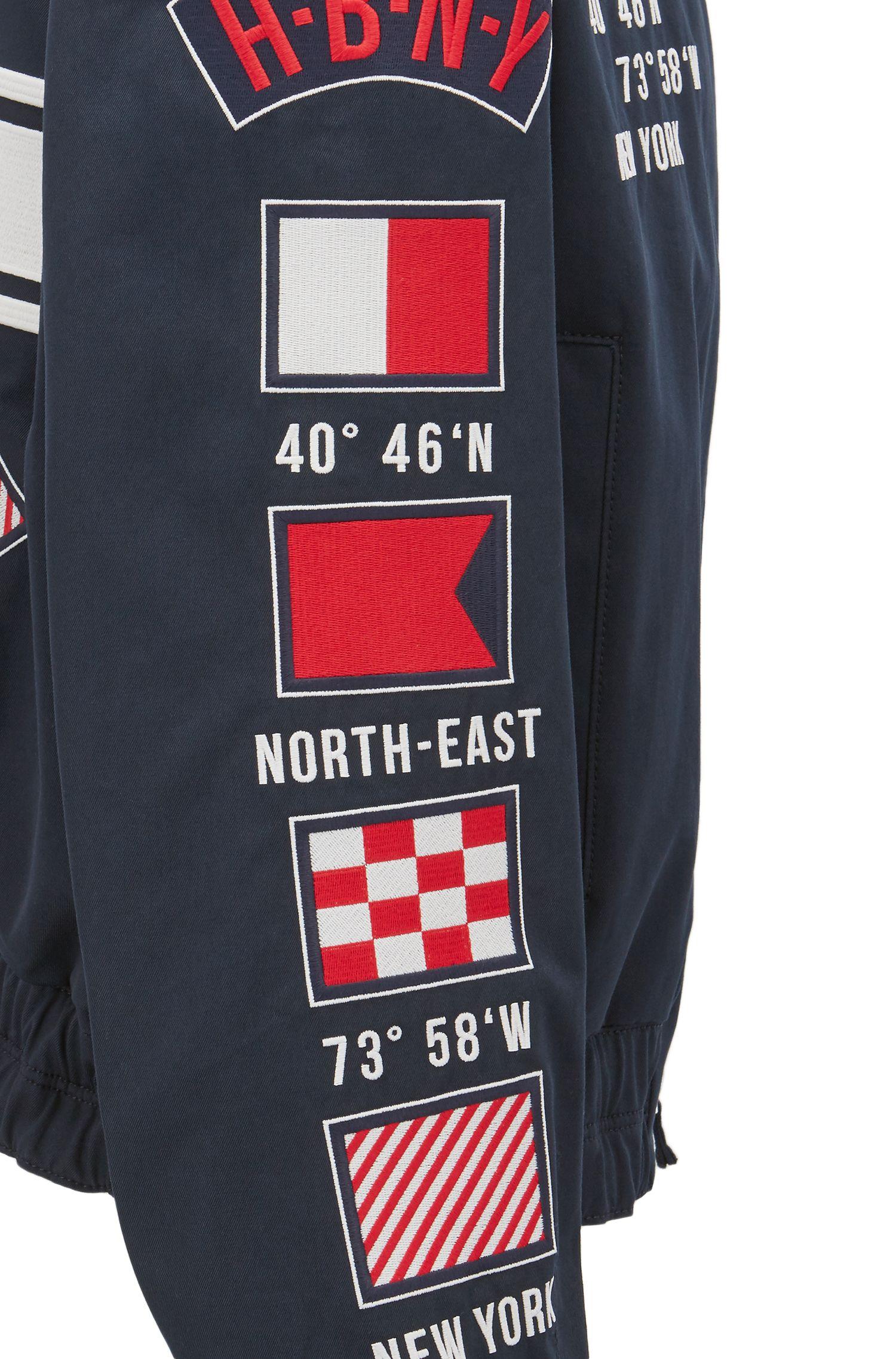 Embroidered Motifs Cotton Jacket | Glenflag , Dark Blue