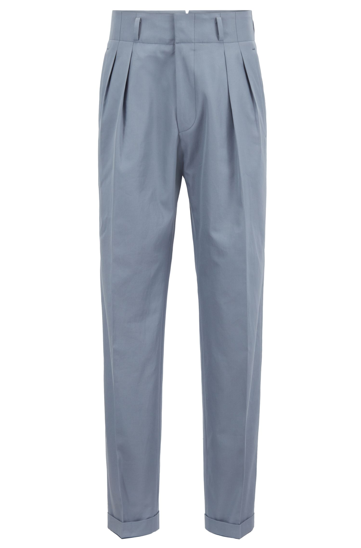 Relaxed-fit high-waisted pleated trousers in Italian cotton | Argos, Open Grey
