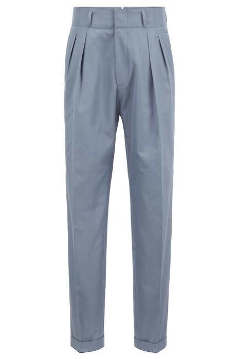 Boss Relaxed Fit High Waisted Pleated Trousers In Italian Cotton