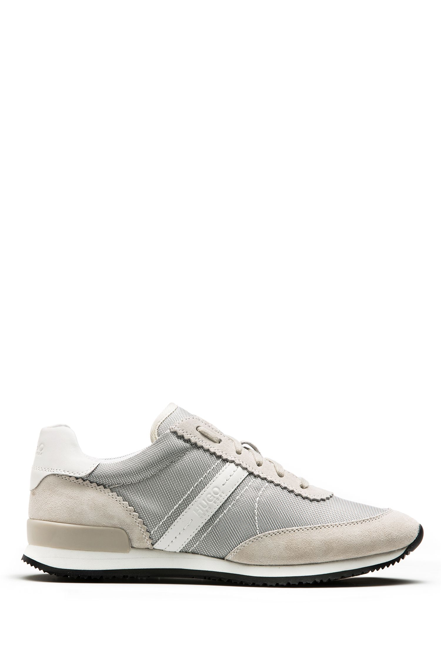 Low-top sneakers with suede overlays, Natural
