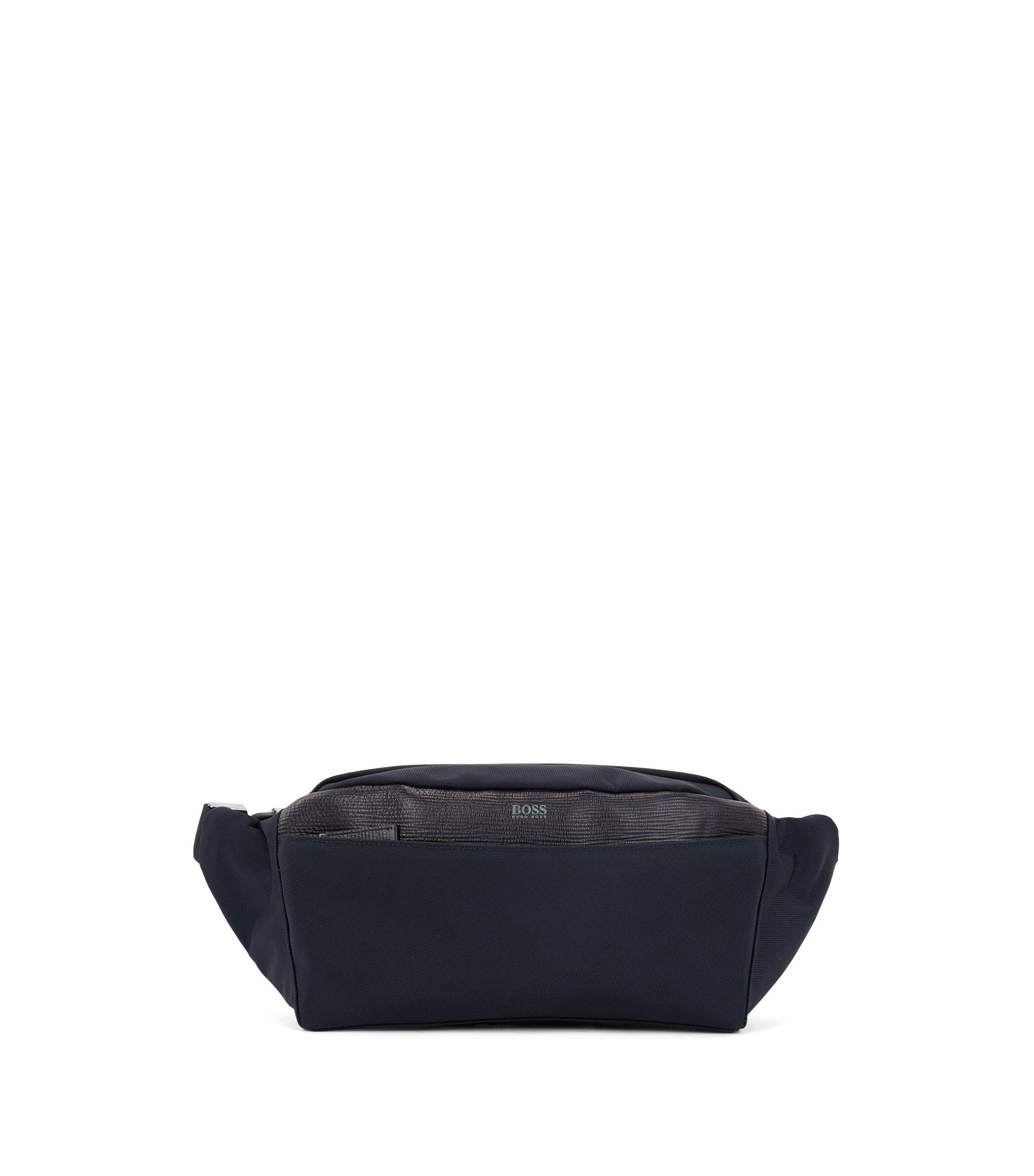 Nylon belt bag with calf-leather trim, Dark Blue