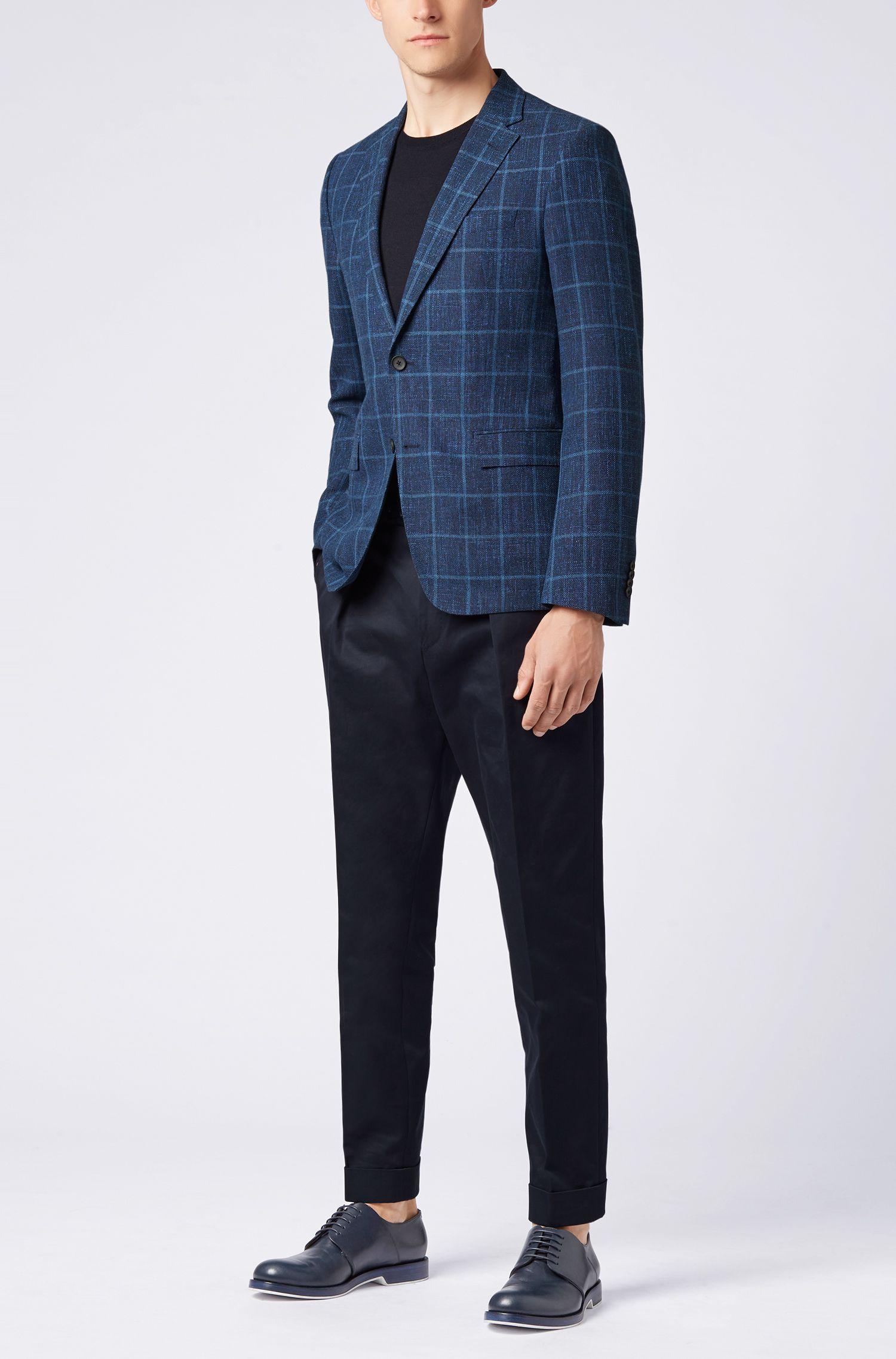 Slim-fit blazer in check virgin-wool blend, Open Blue