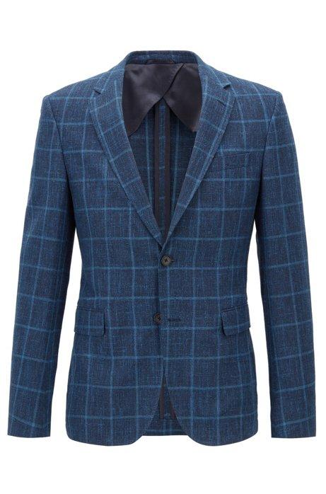 55dbc3325f1 BOSS - Slim-fit blazer in check virgin-wool blend