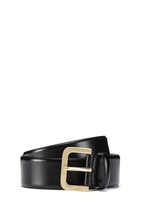 Italian-leather belt with logo-engraved buckle, Black