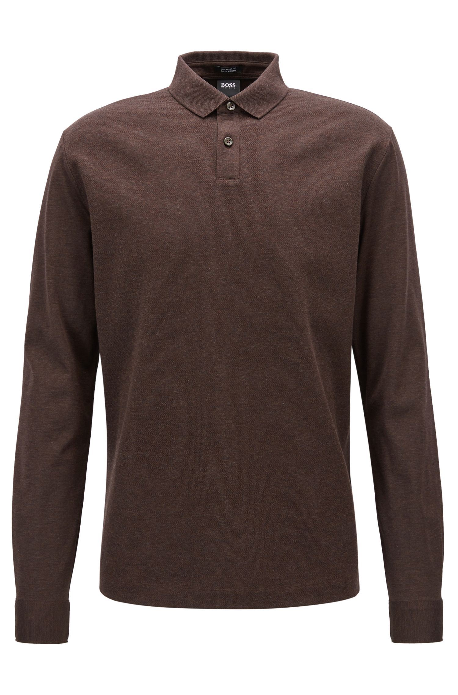 Regular-fit polo shirt in mercerized cotton with micro-check pattern, Dark Brown