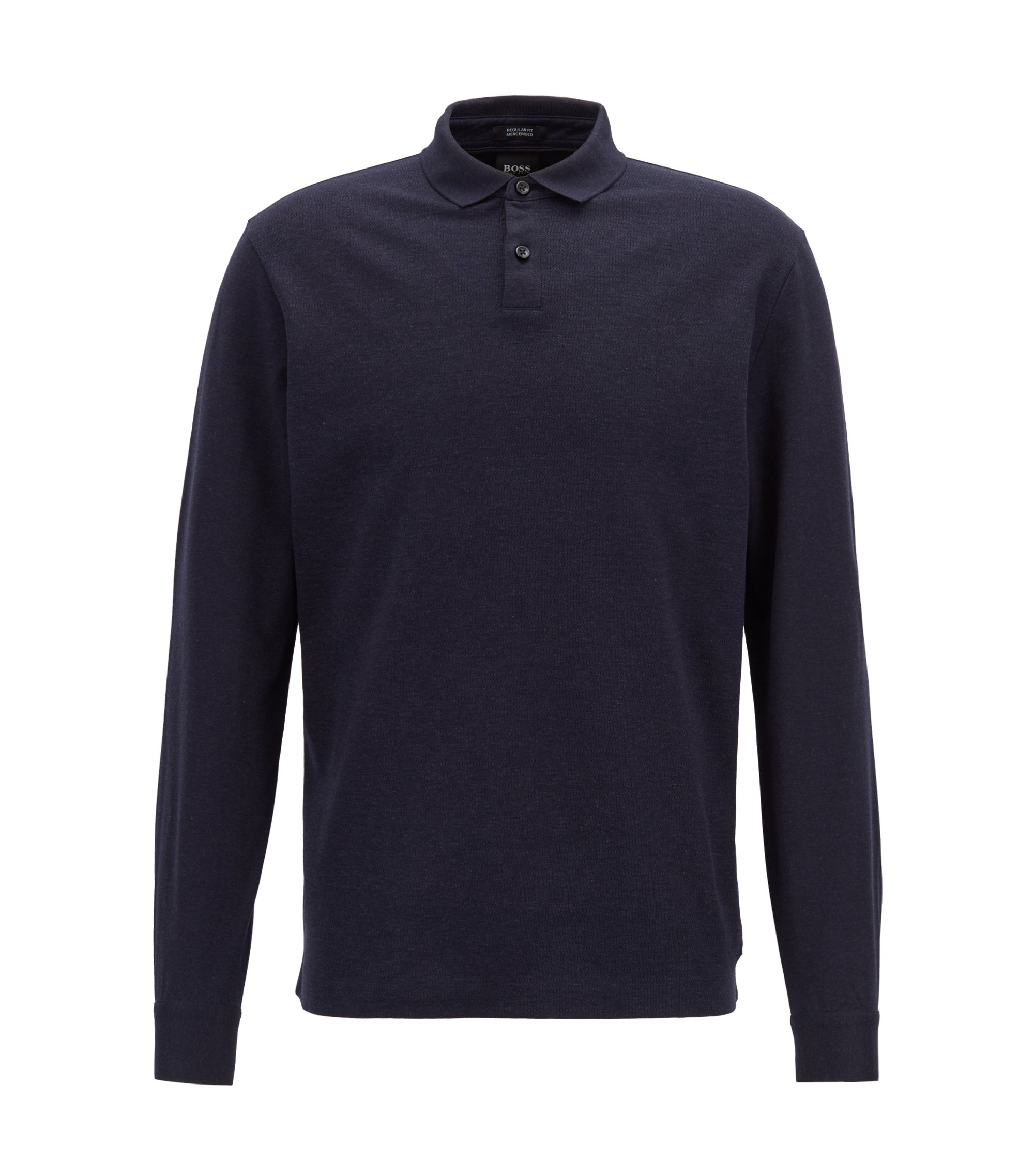 Regular-fit polo shirt in mercerized cotton with micro-check pattern, Open Blue