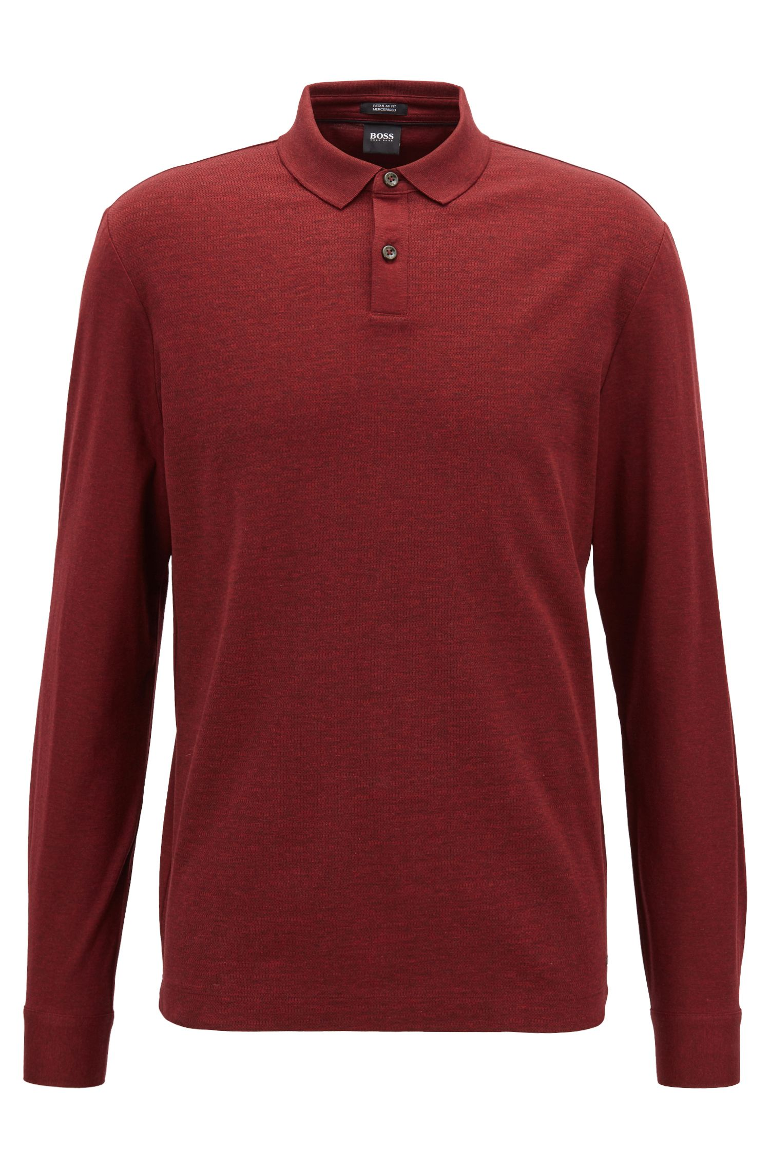 Regular-fit polo shirt in mercerized cotton with micro-check pattern, Dark Red