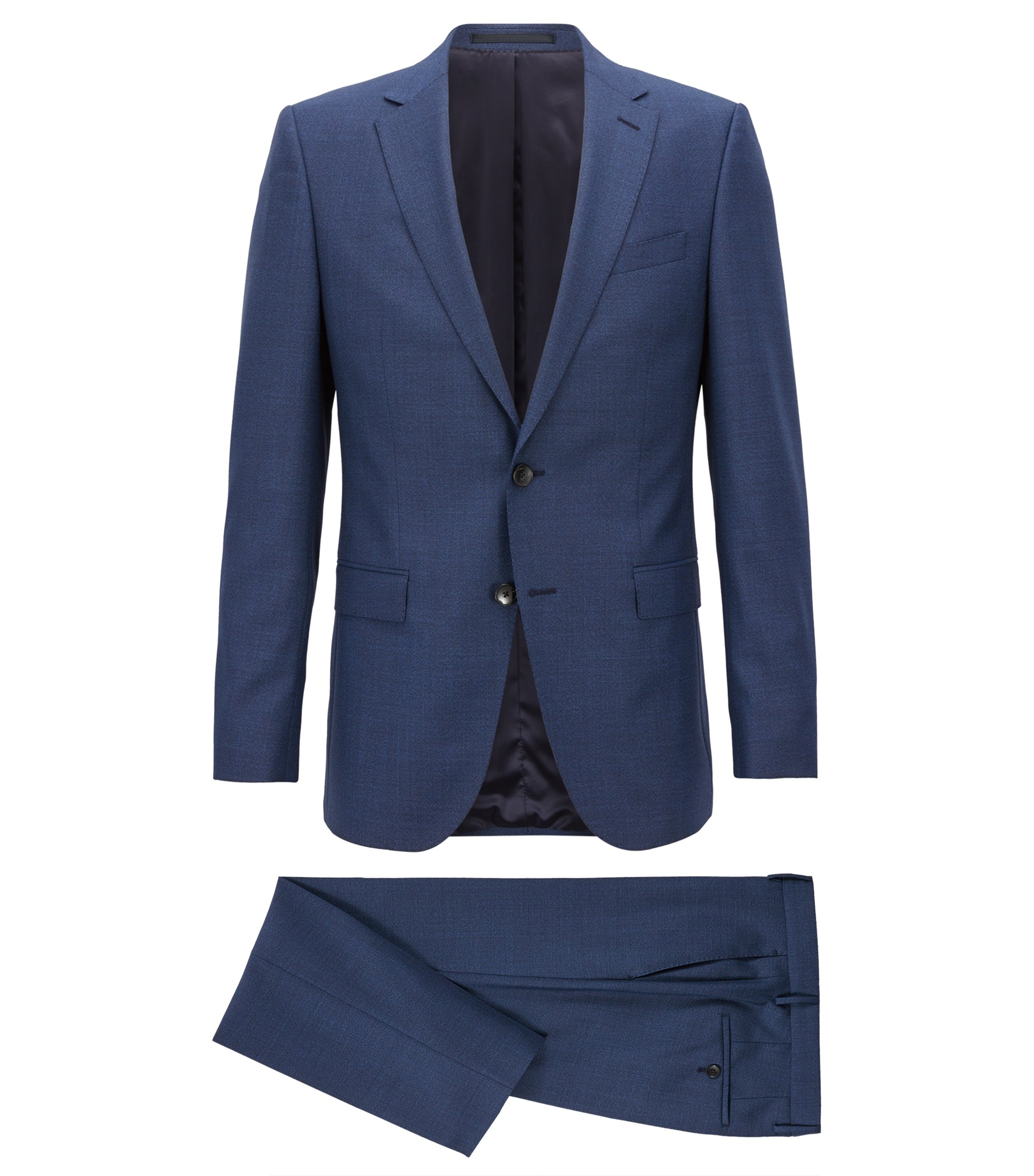Slim-fit suit in melange virgin wool, Open Blue