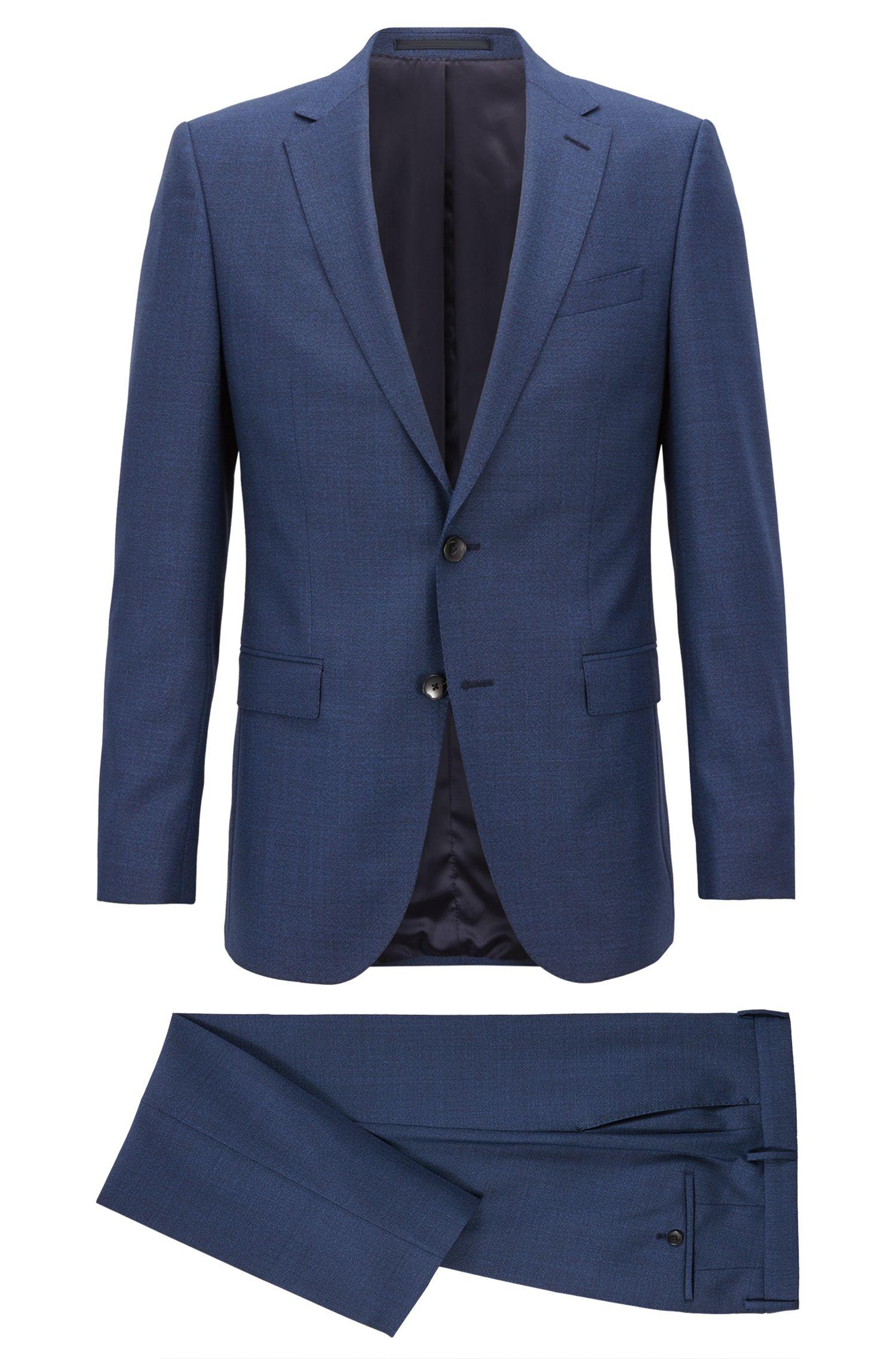 Slim-fit suit in melange virgin wool, Open Blue