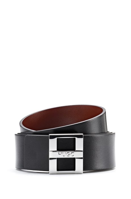 Smooth-leather reversible belt with branded pin closure, Black