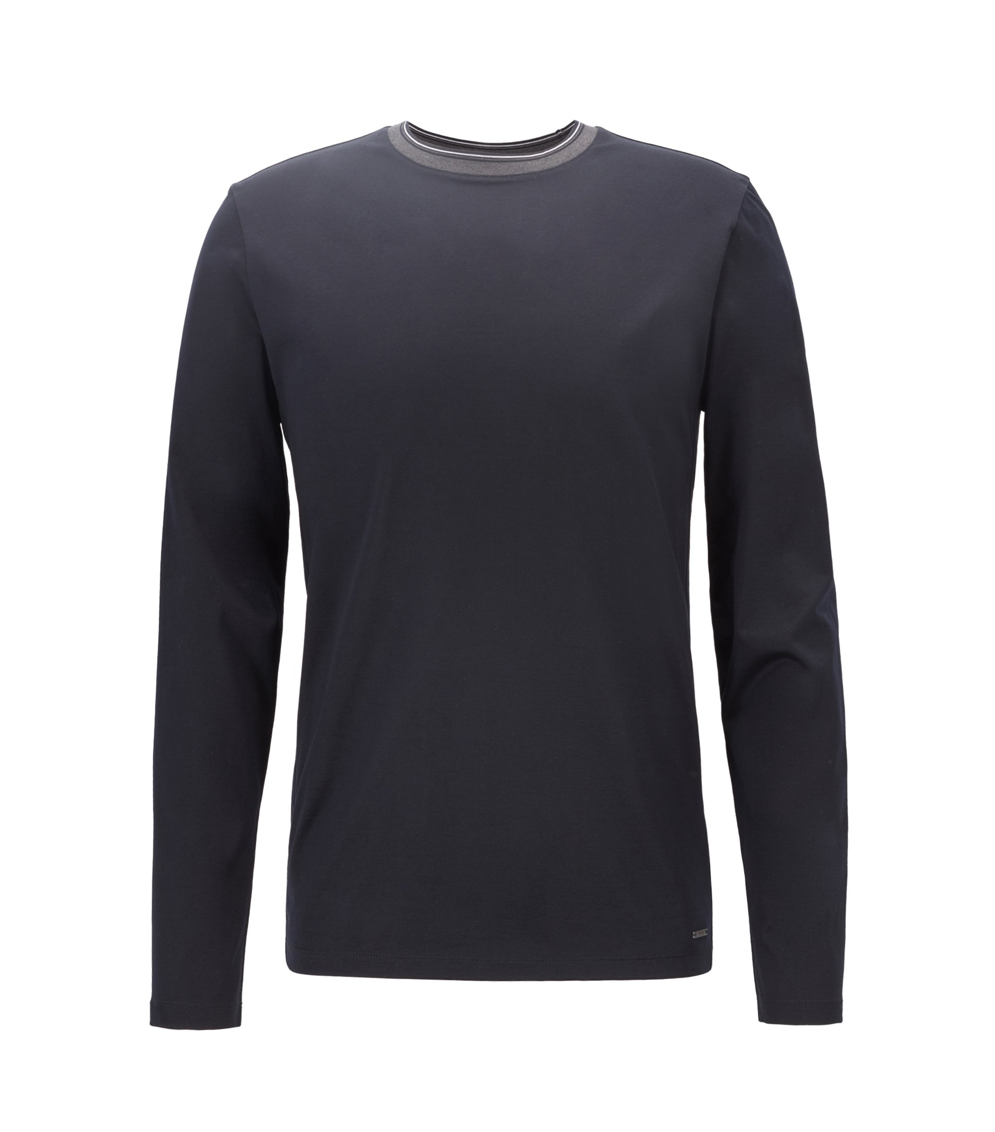 Long-sleeved T-shirt in mercerized cotton with striped neckline, Black