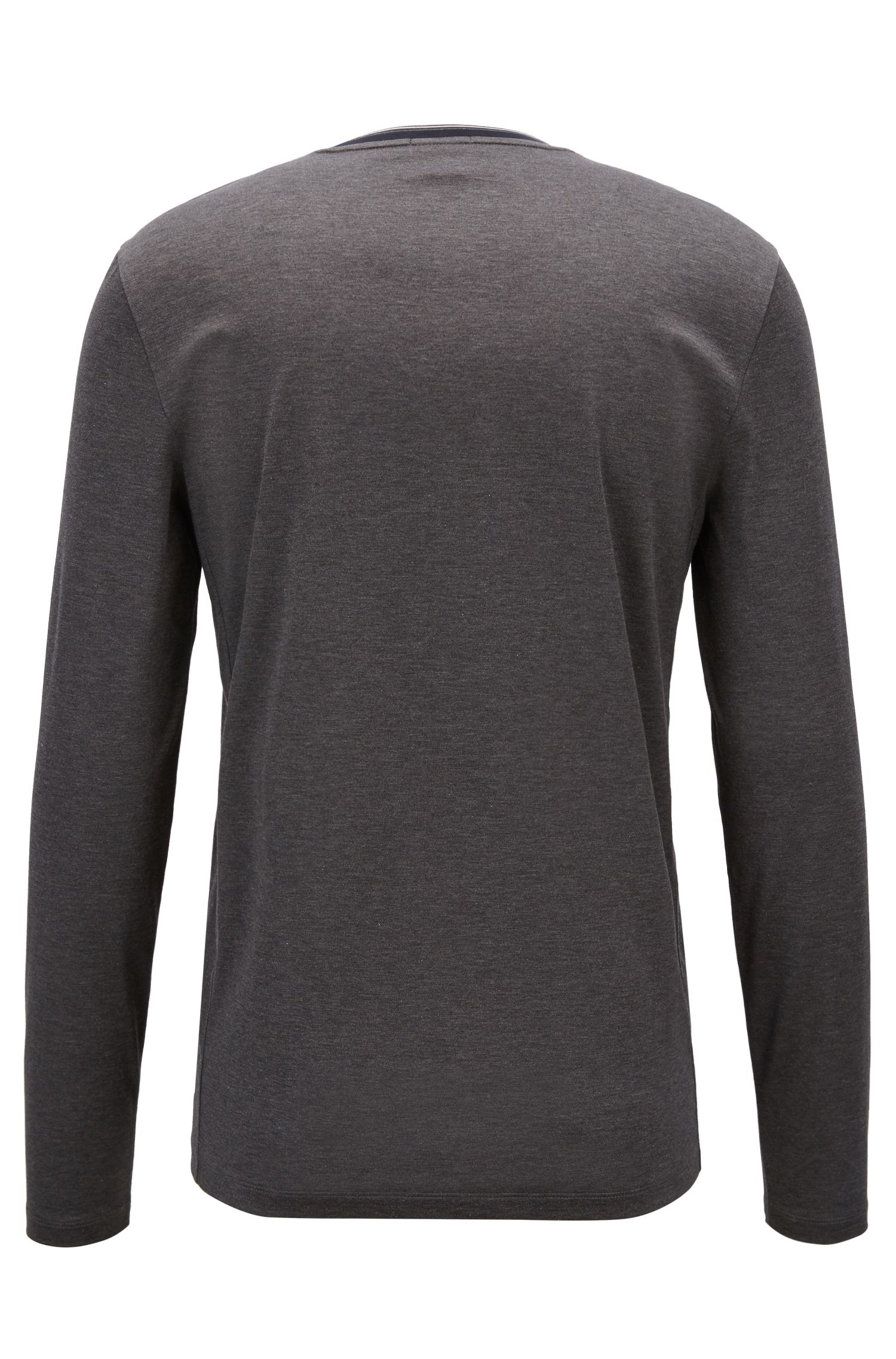Long-sleeved T-shirt in mercerized cotton with striped neckline, Open Grey